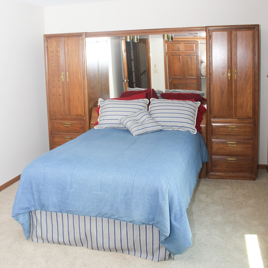 American Drew Full Size Bed With Double Wall Storage Cabinets