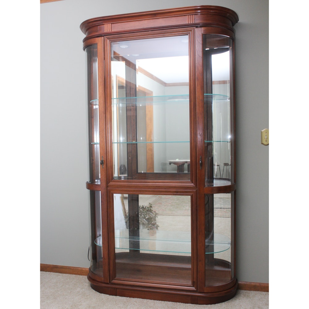 Vintage Wooden Curio Cabinet with Curved Glass