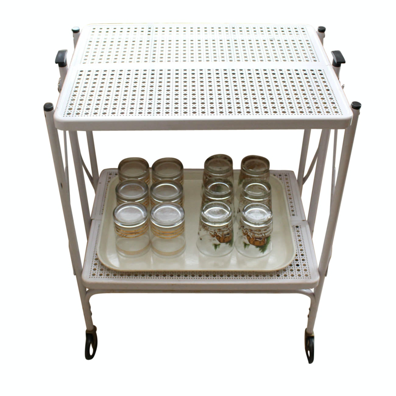 Mid Century Modern Perforated Bar Cart