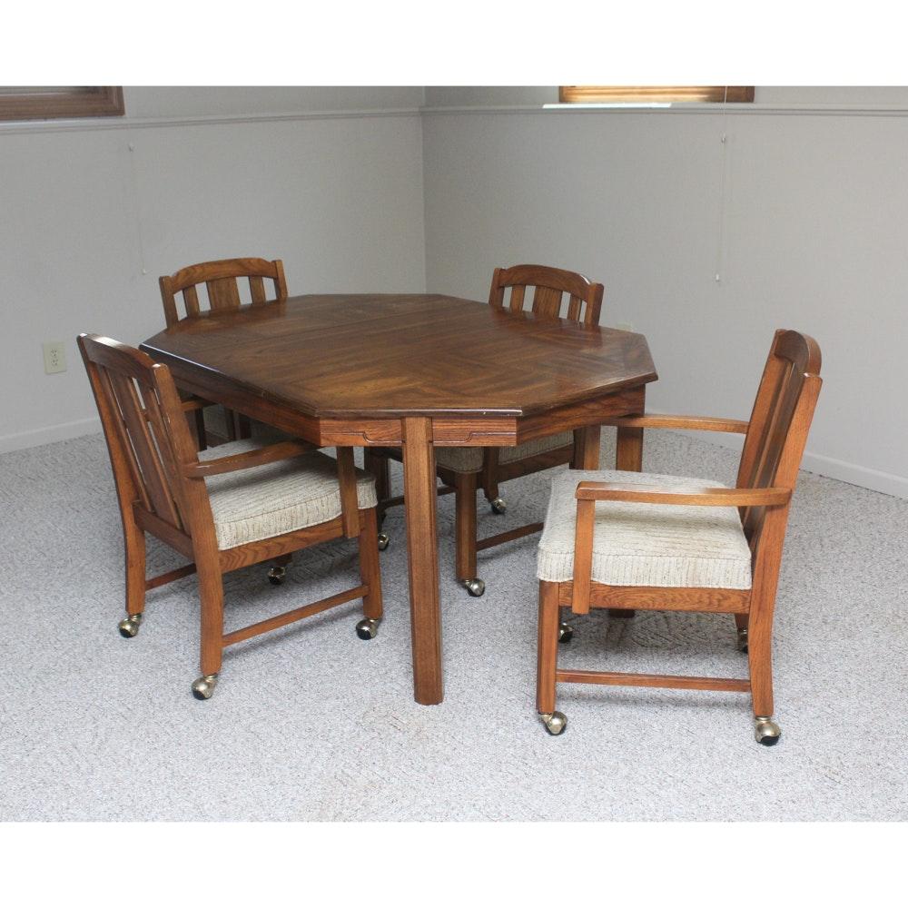 Vintage Oak Veneer Table and Chairs Set