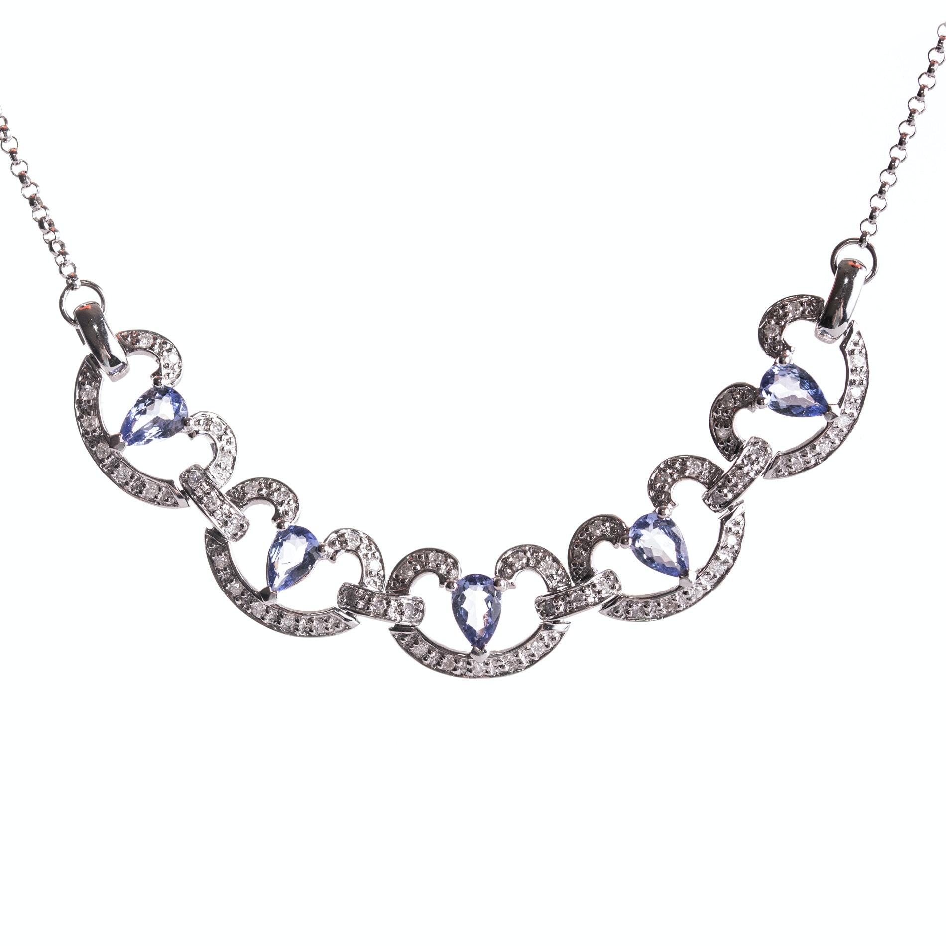 14K White Gold Diamond and Tanzanite Necklace