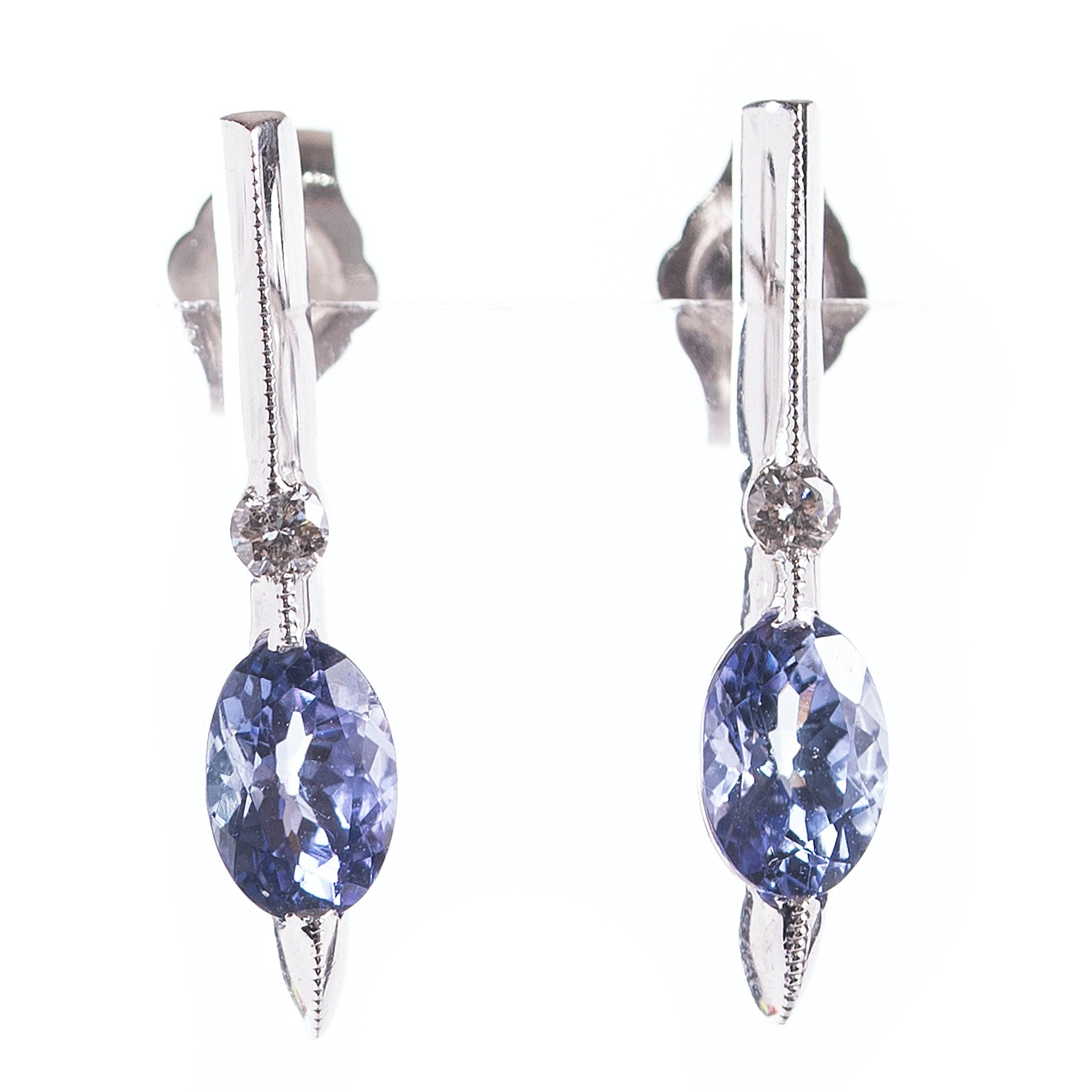 14K White Gold Diamond and Tanzanite  Earrings