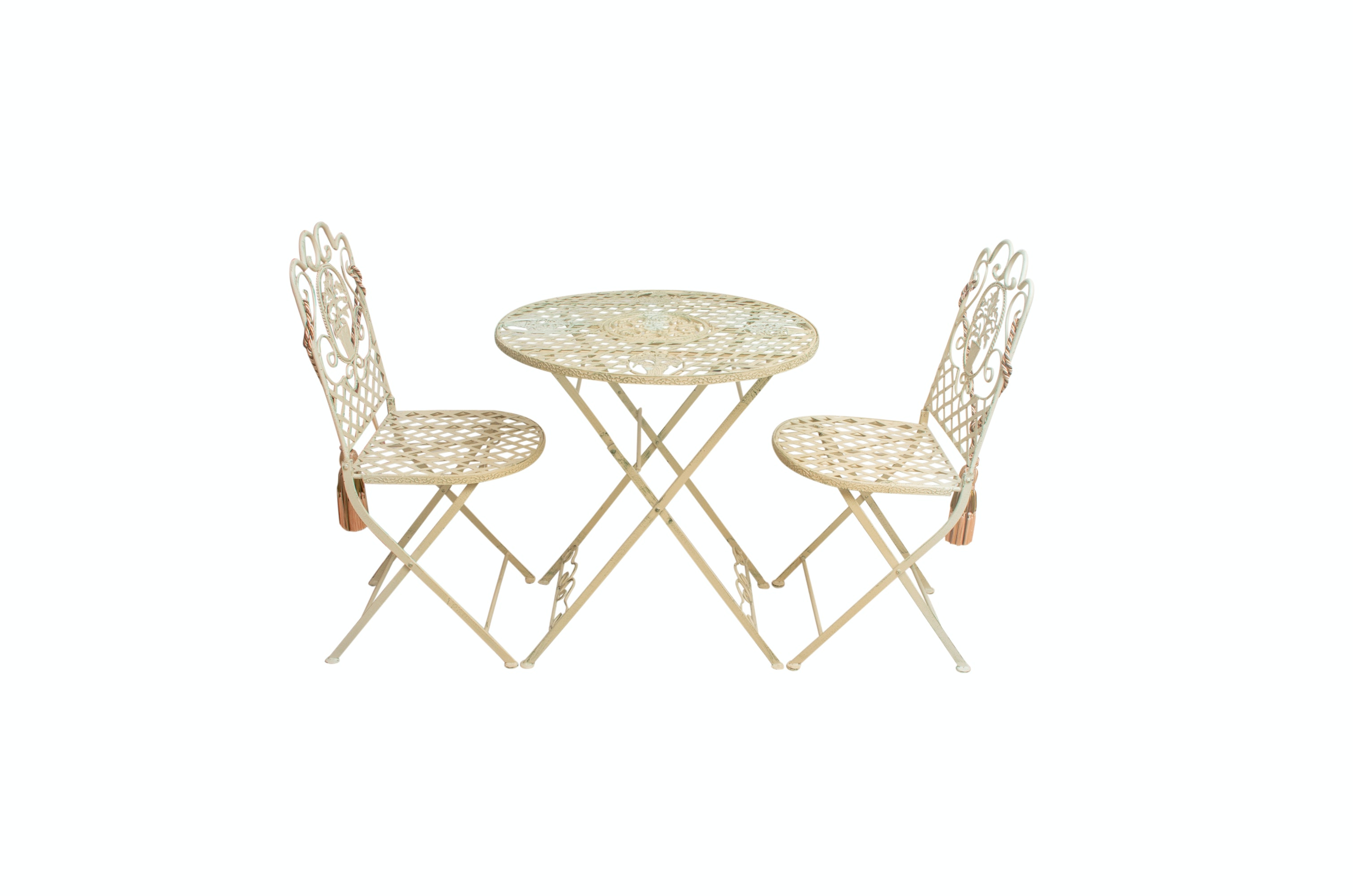 Vintage European Bistro Style Metal Folding Table and Chairs