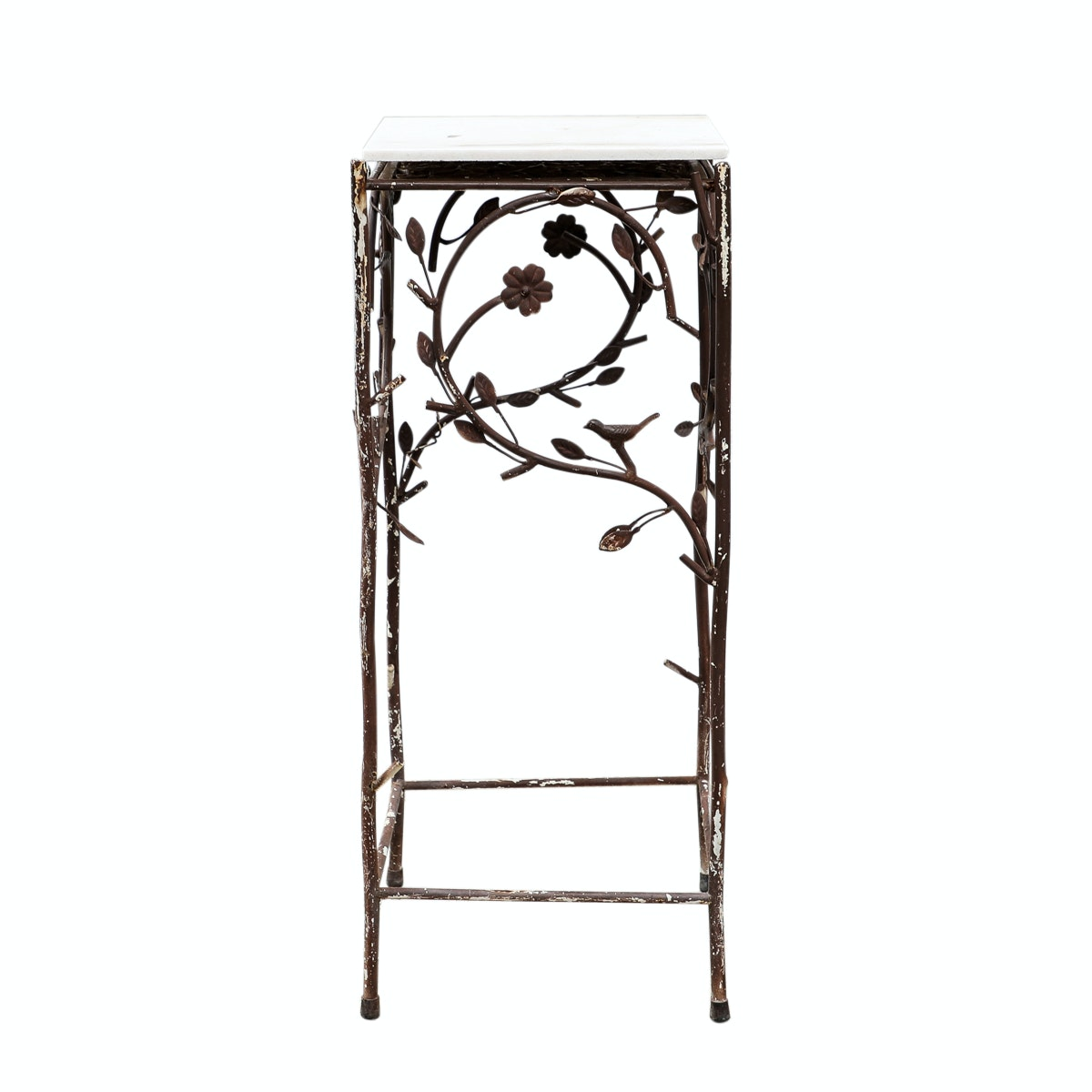 Metal Plant Stand with Onyx Top
