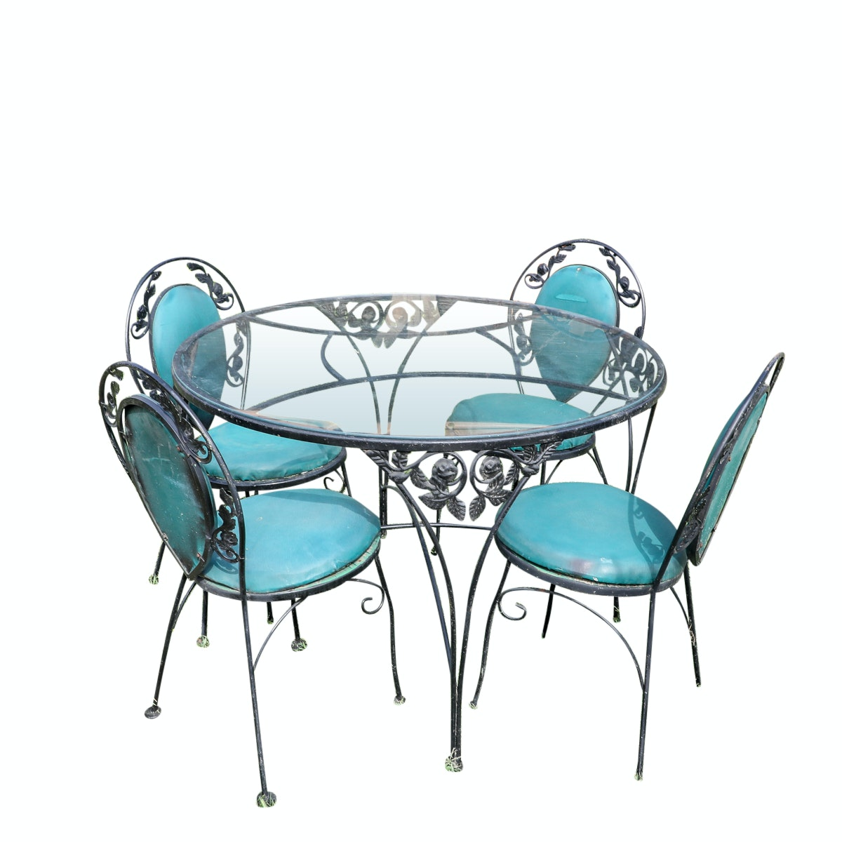 Round Glass Top Wrought Iron Patio Table with Chairs