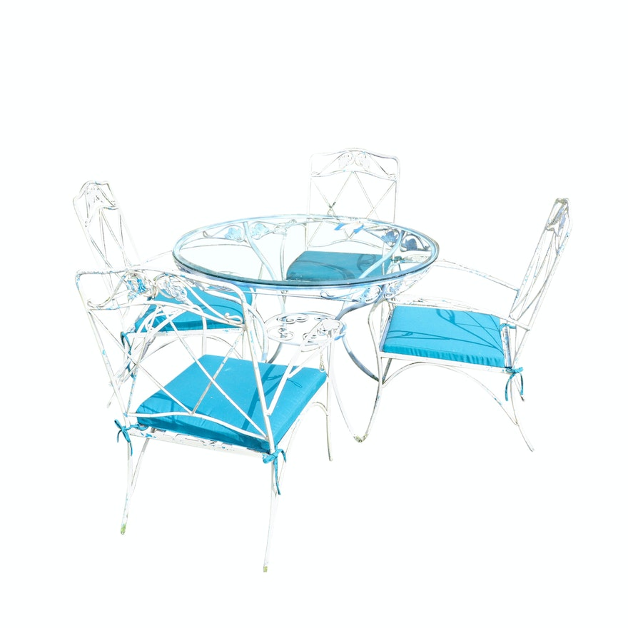 Wrought Iron Patio Table And Four Chairs With Sunbrella Cushions