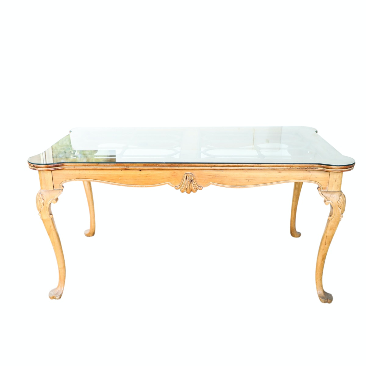 French Style Pierced Top Dining Table with Glass