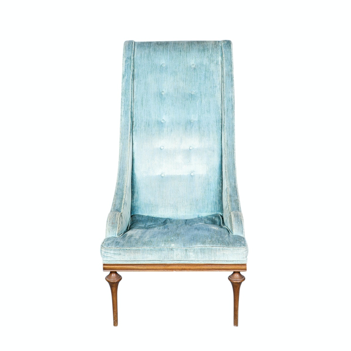 Hollywood Regency Style Blue Upholstered Chair