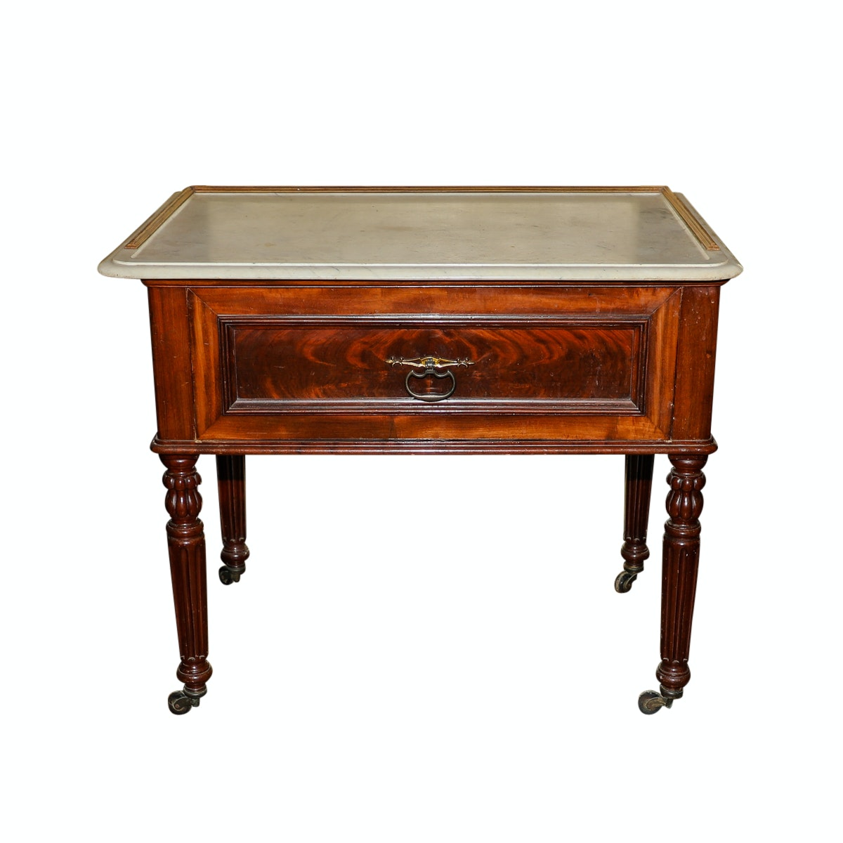 Antique Mahogany Pastry Table with Marble Top