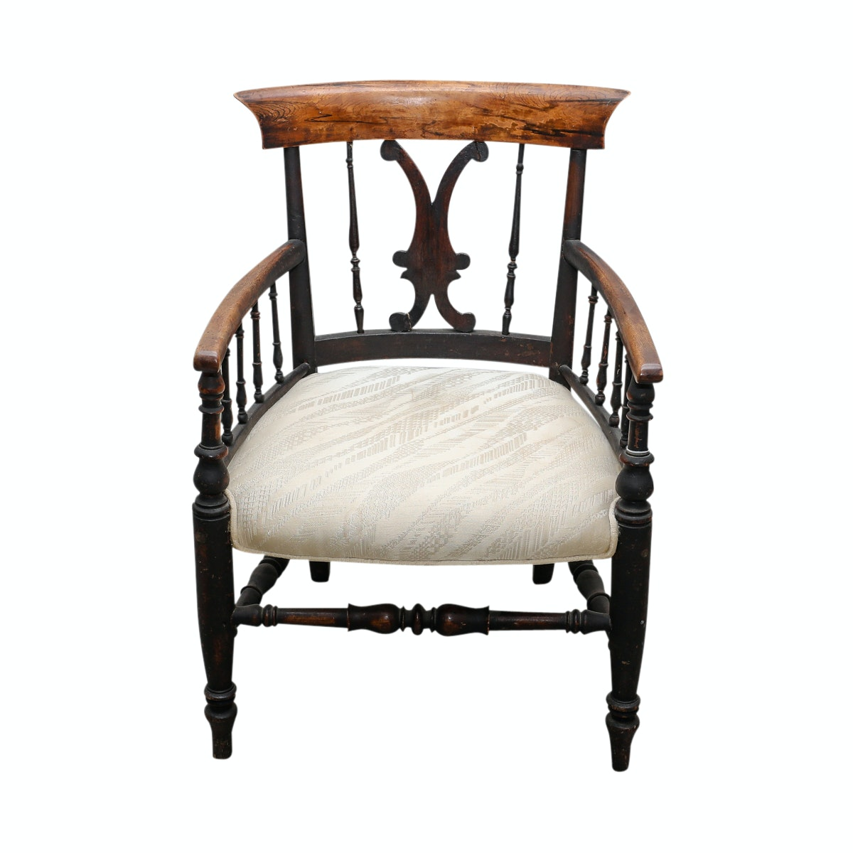 Antique Spindle and Slat-Back Armchair
