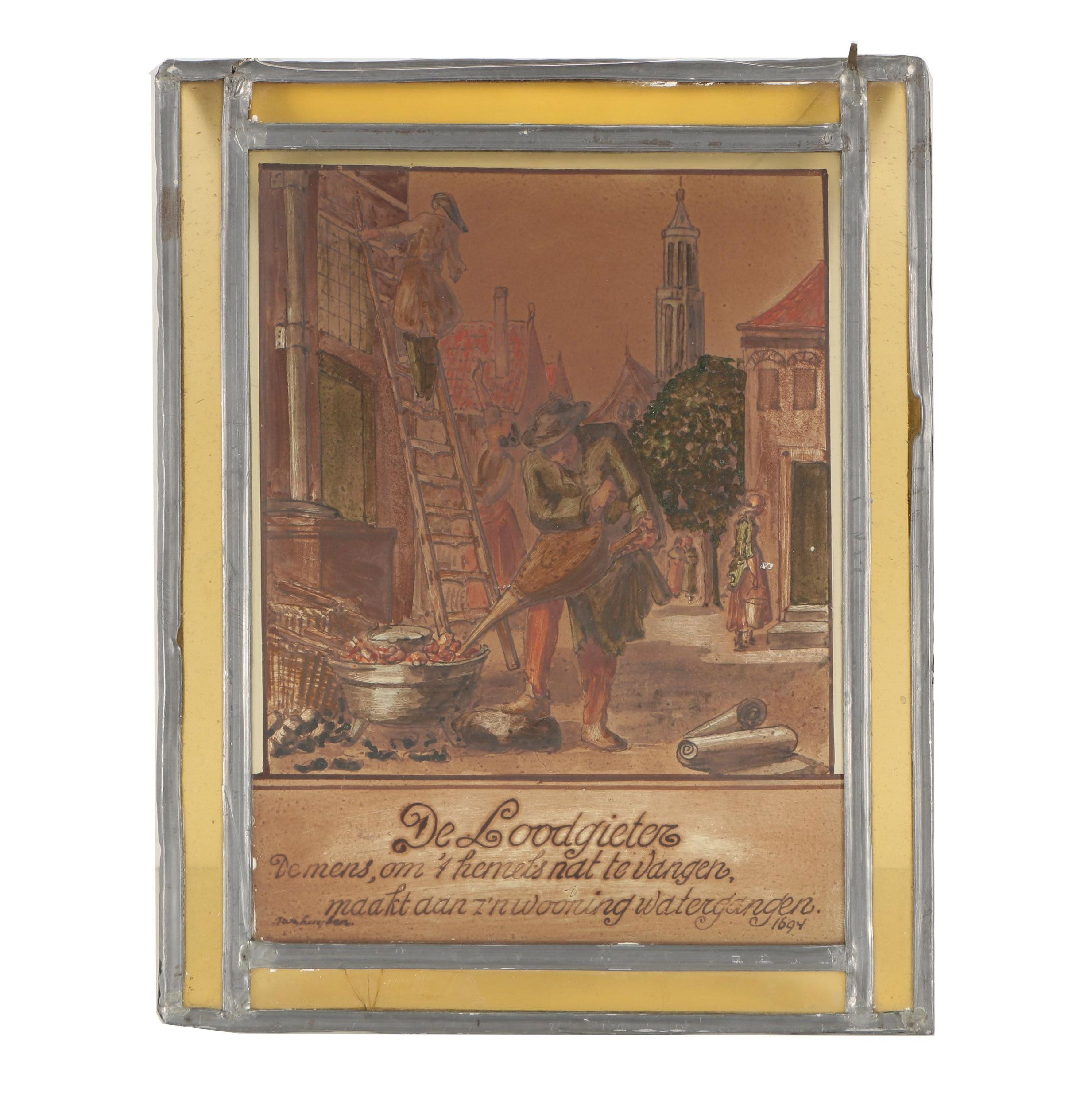 "1694 Painted Glass Panel ""De Loodgieter"""