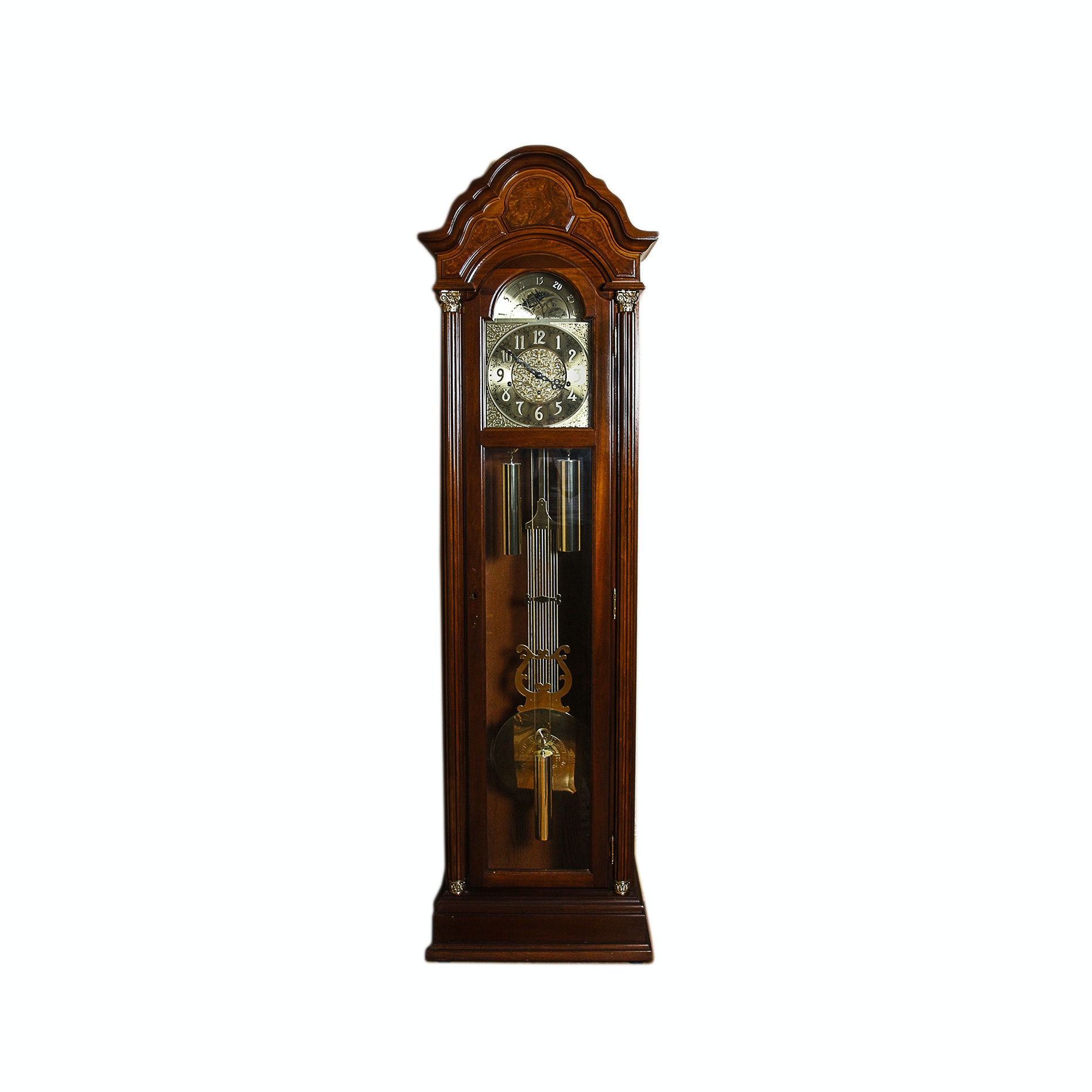 Colonial Style Grandfather Clock with Moon Phase Dial