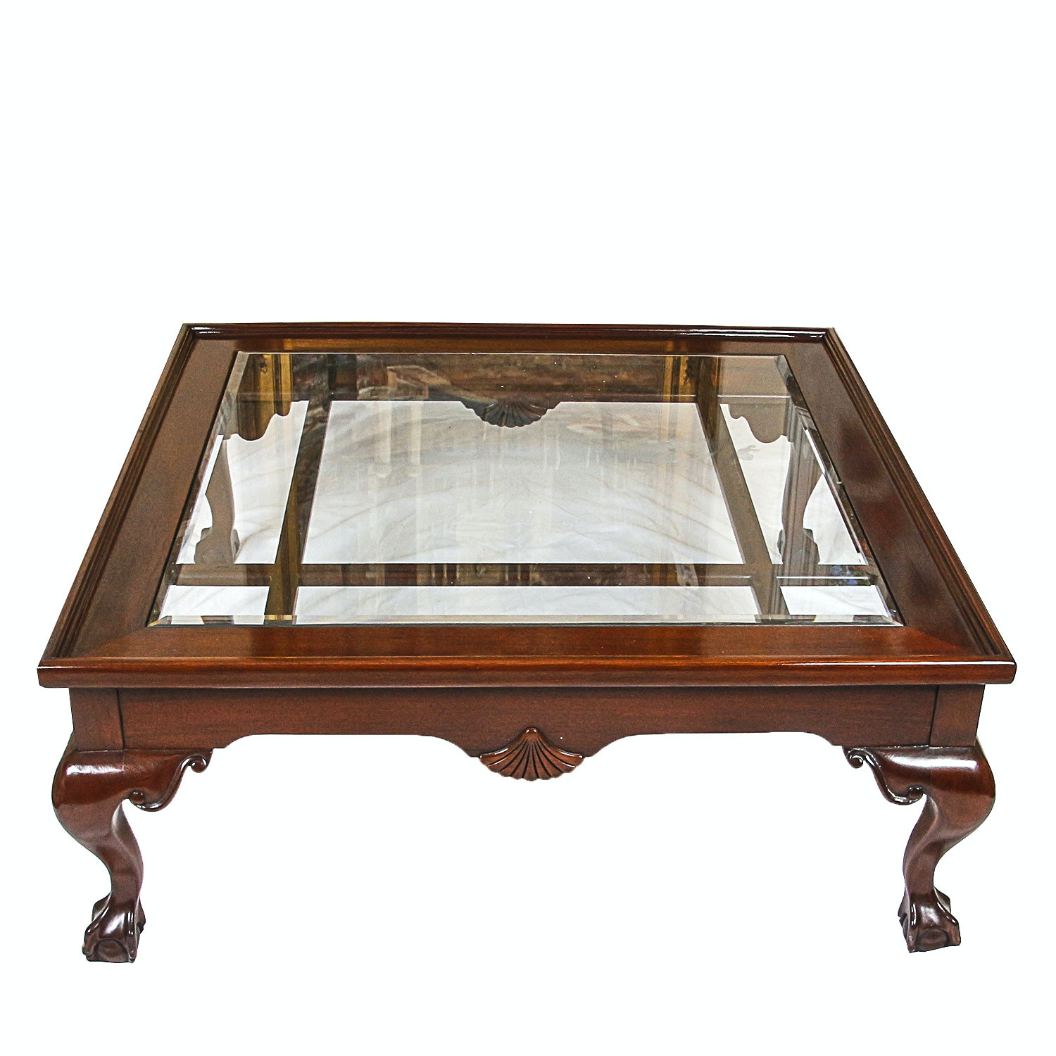 Contemporary Chippendale Style Glass Top Coffee Table