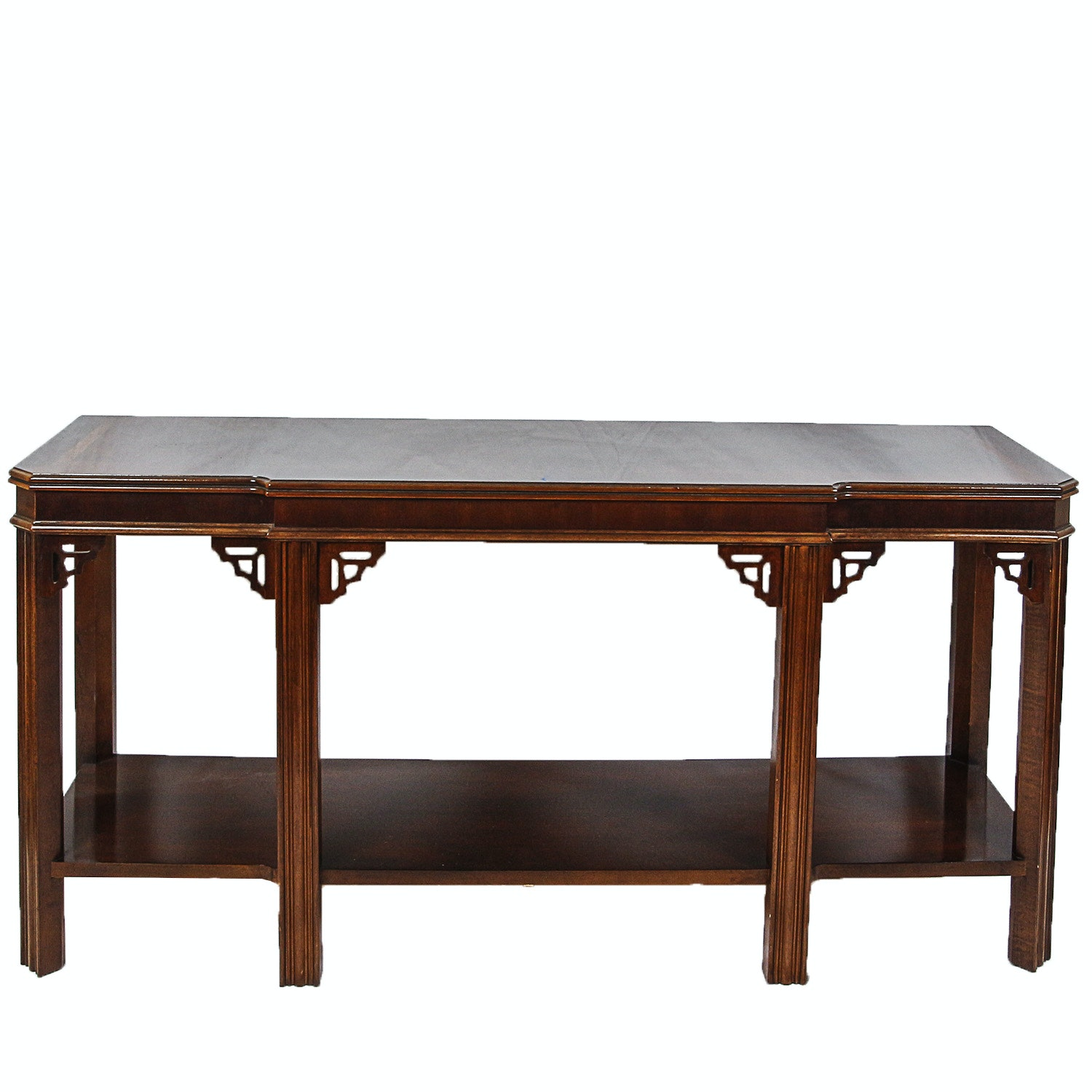 Contemporary Chippendale Style Walnut Console Table