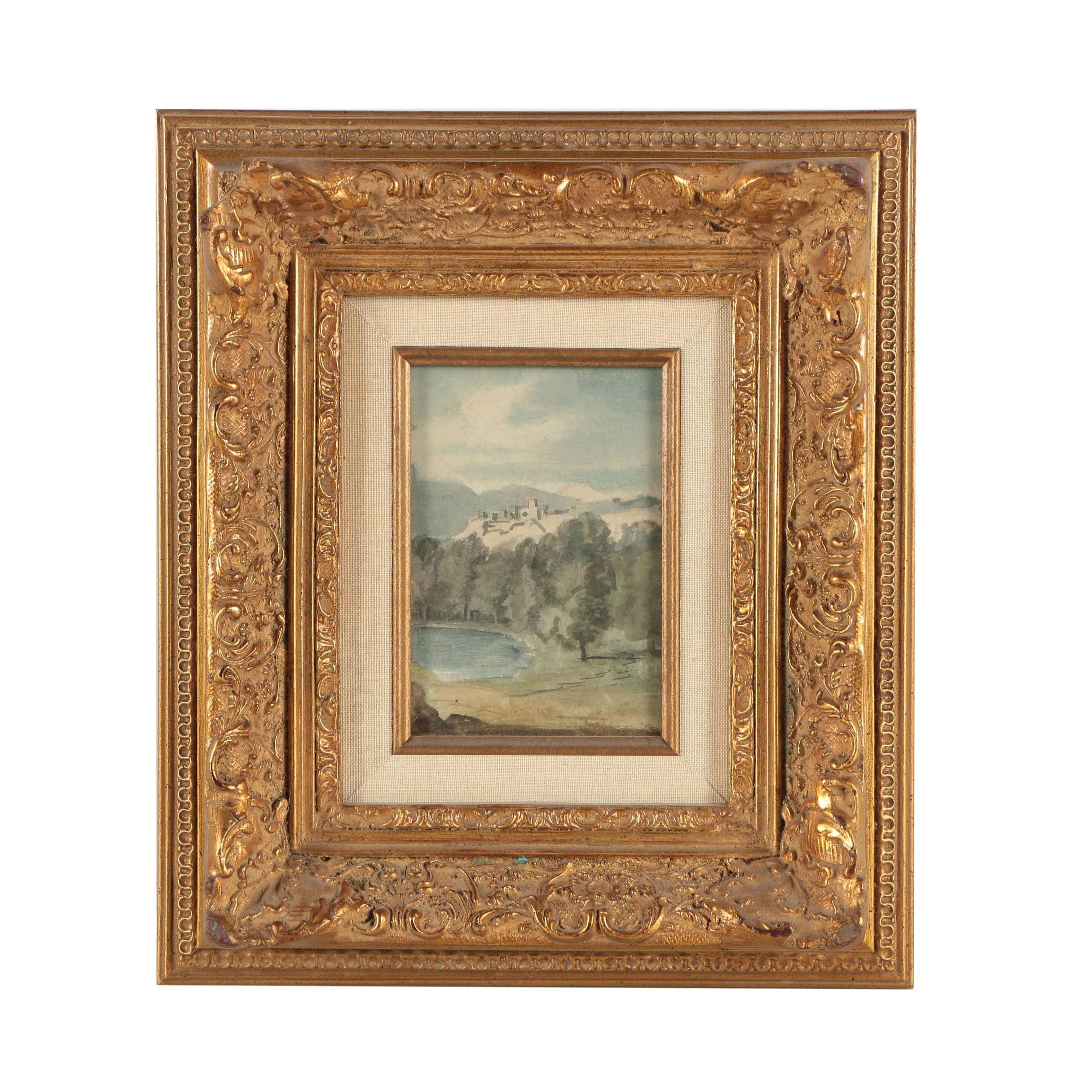 """Jacques Castenet Watercolor Painting """"Carcassonne"""""""