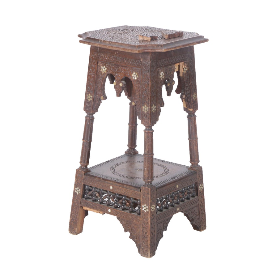 a89ac4d49f44c Vintage Moroccan Style Carved Side Table with Mother of Pearl Inlay ...