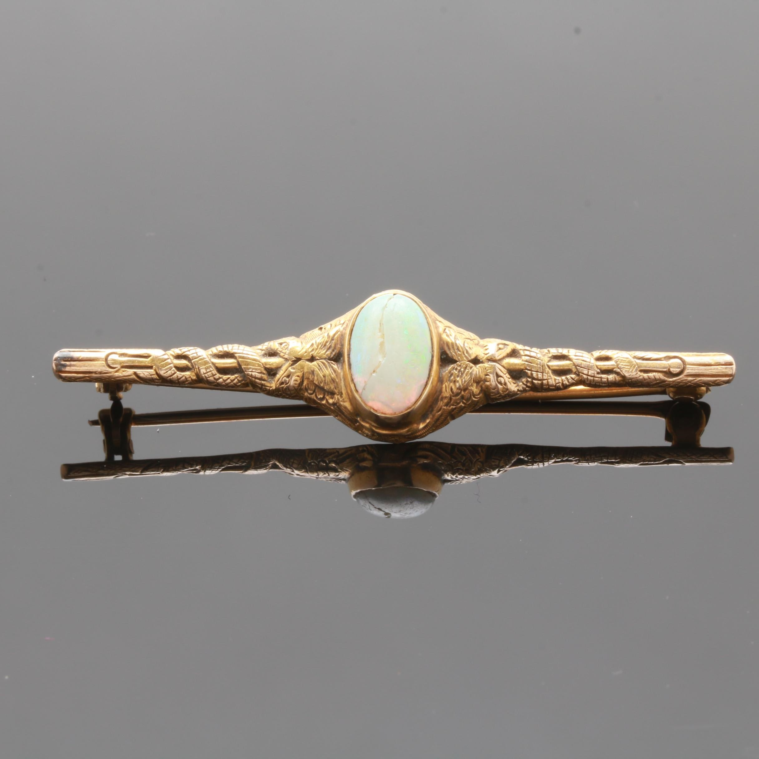 Early 20th Century 14K Yellow Gold Opal Brooch