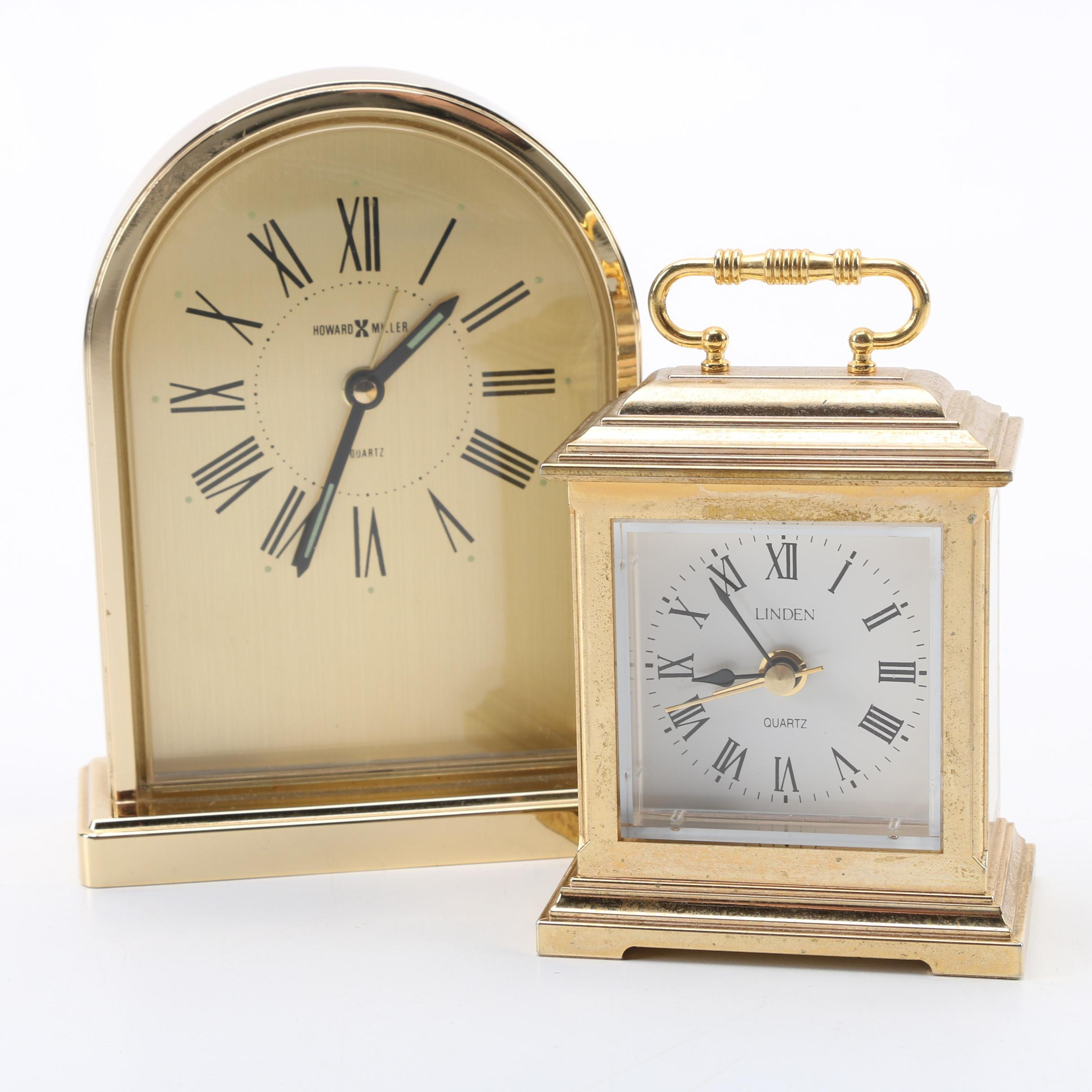 Linden and Howard Miller Brass Alarm Clocks