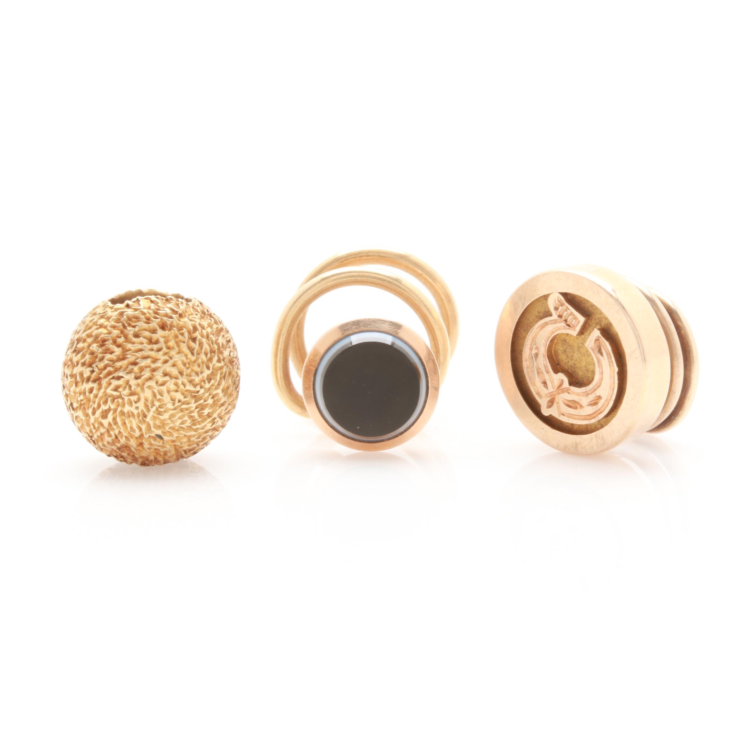 14K Yellow Gold Pins and Bead