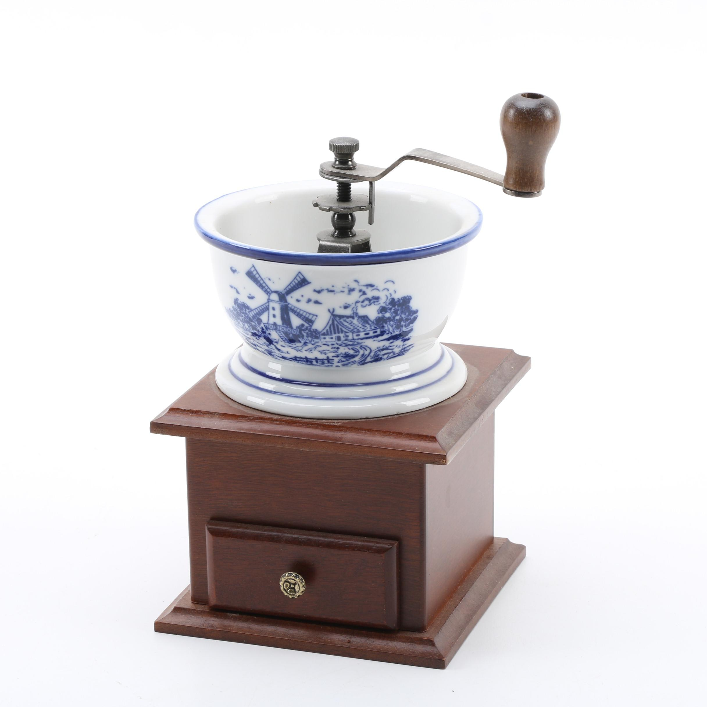 Blue and White Delft Style Top Coffee Grinder