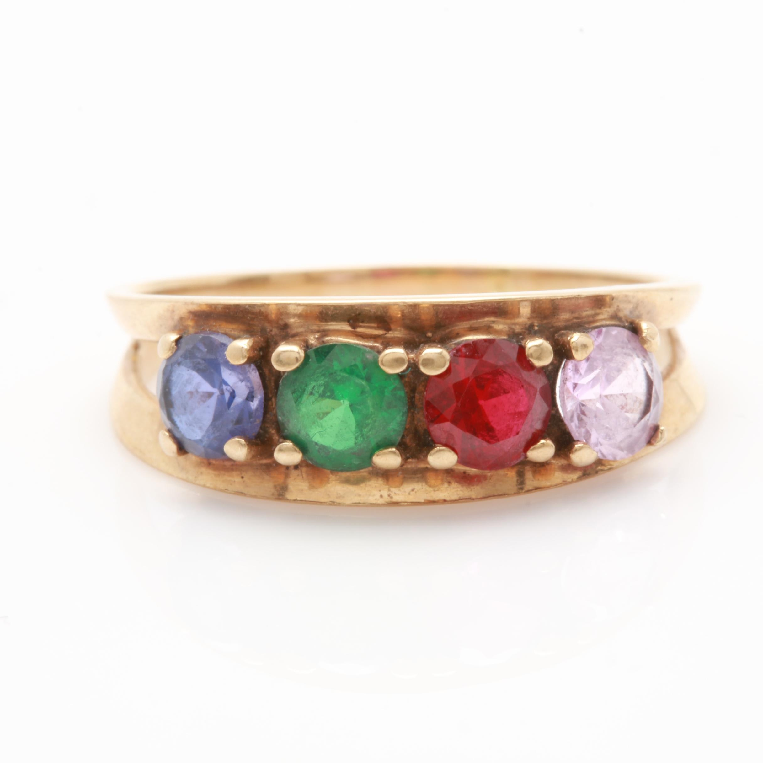 10K Yellow Gold Synthetic Sapphire, Synthetic Ruby and Quartz Triplet Ring