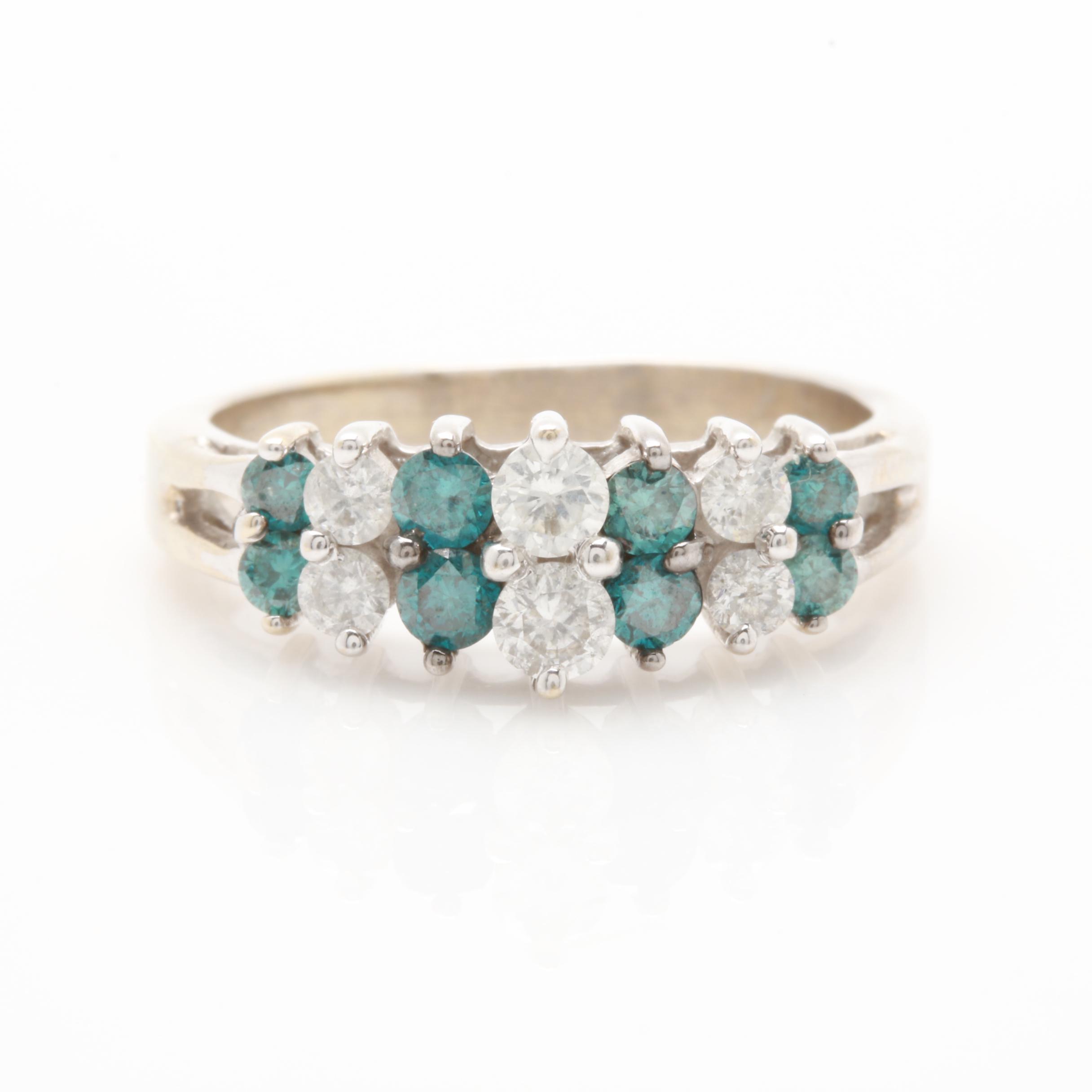 14K White Gold Diamond and Blue Diamond Ring