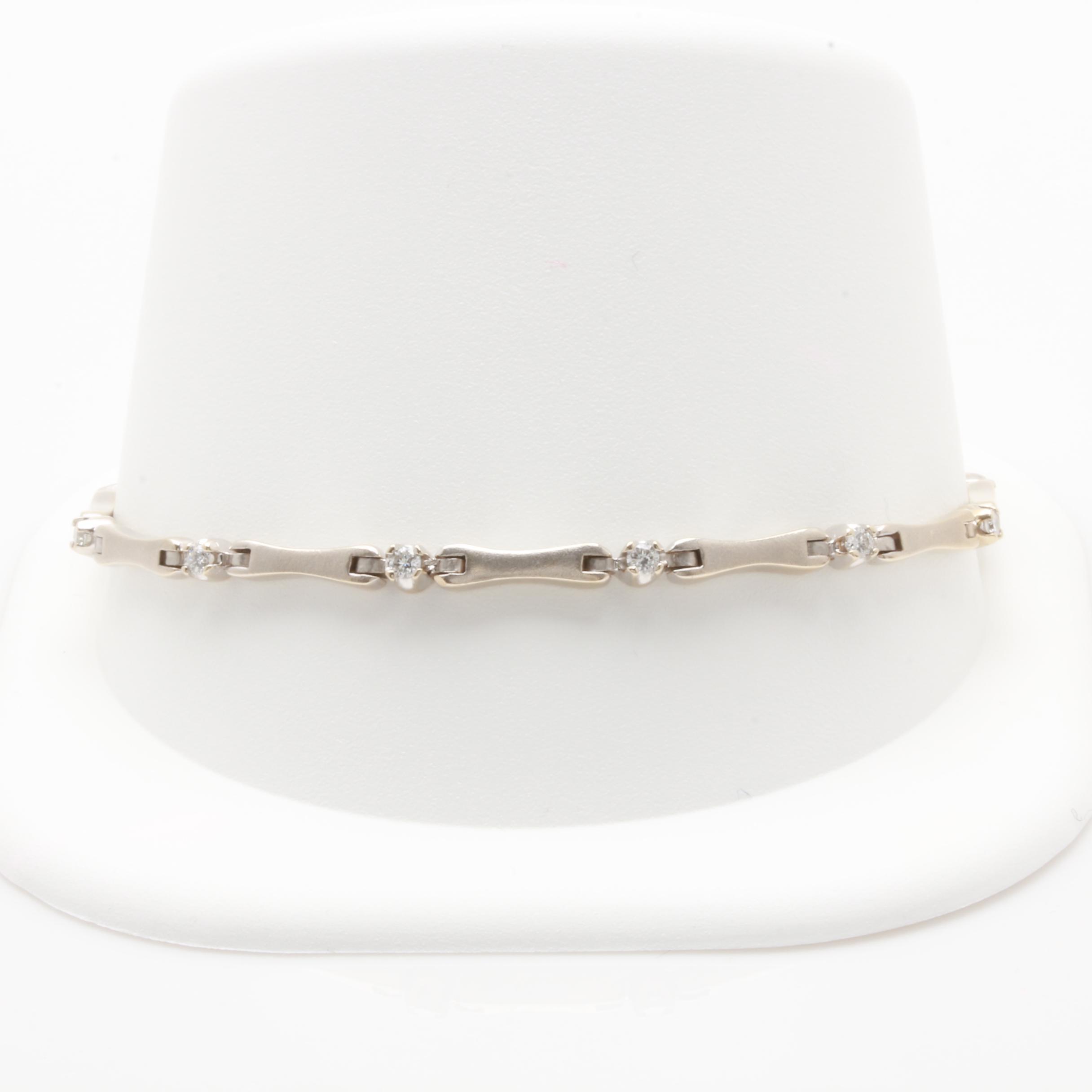 14K White Gold Diamond Link Bracelet