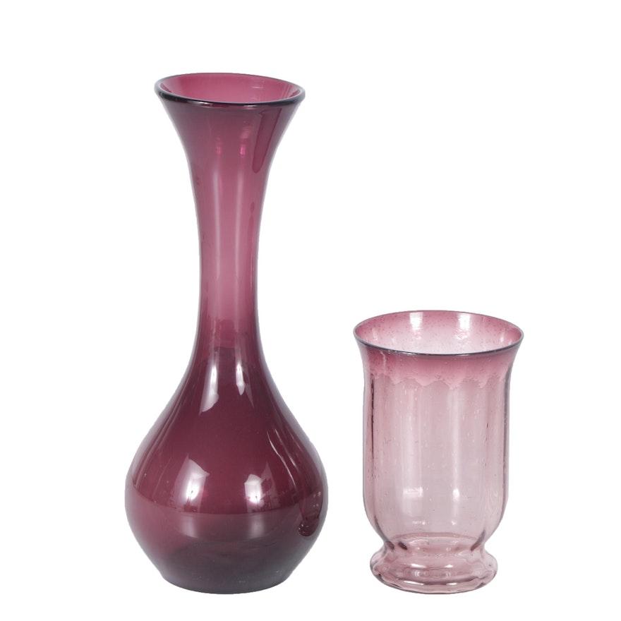 Purple Glass Vases Including Blenko Ebth