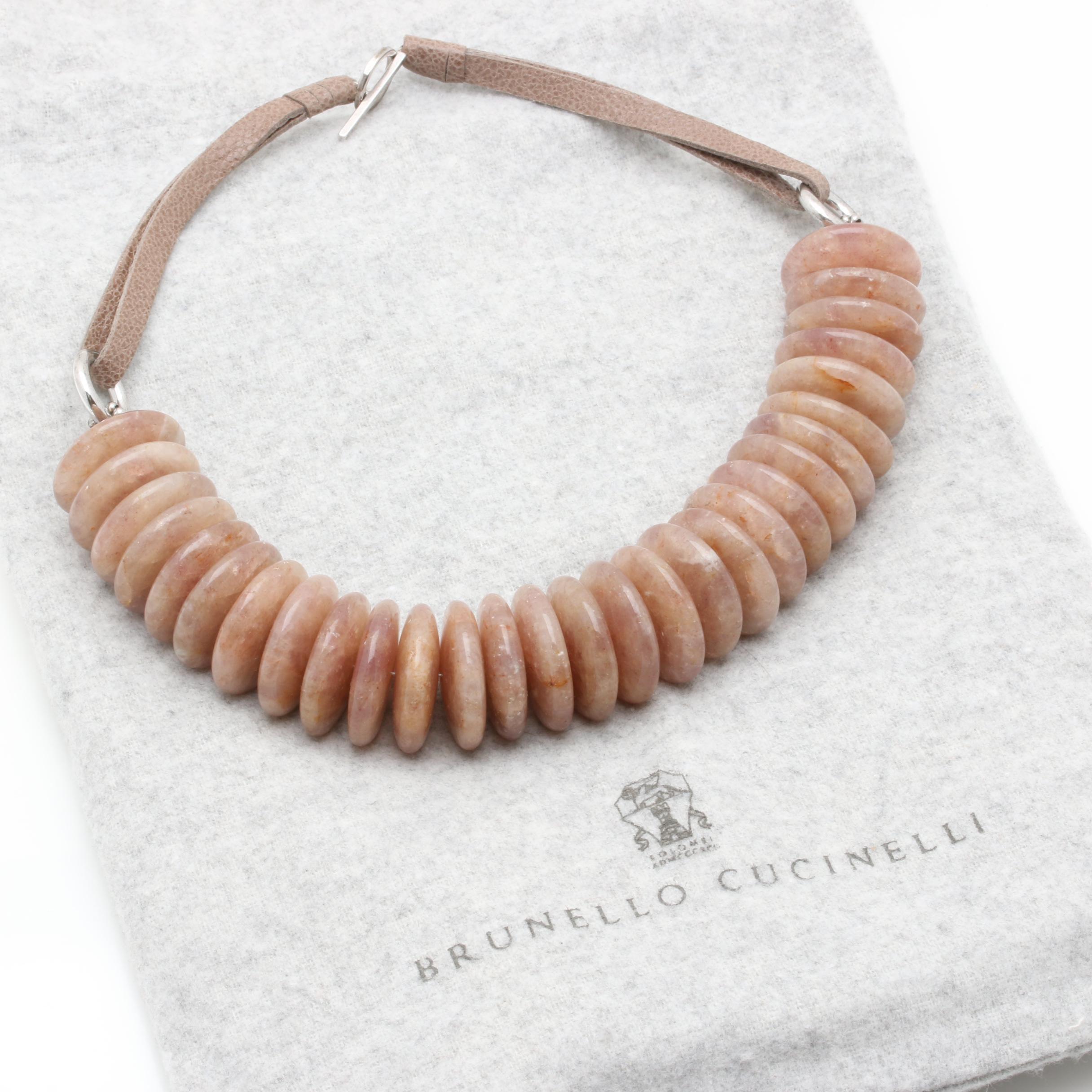 Brunello Cucinelli 800 and Sterling Silver Quartz Necklace