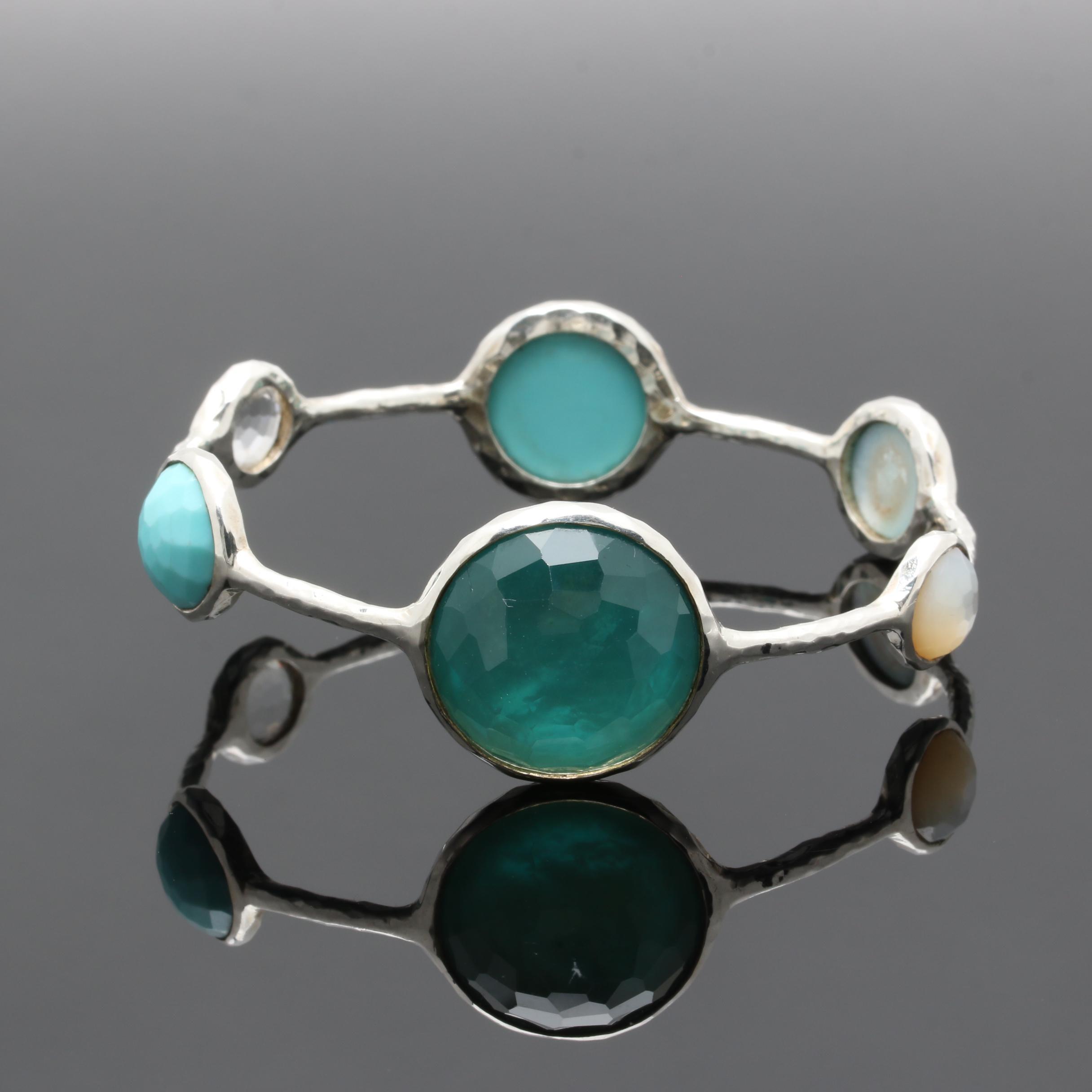Ippolita Sterling Silver Gemstone Bangle Bracelet Including Quartz