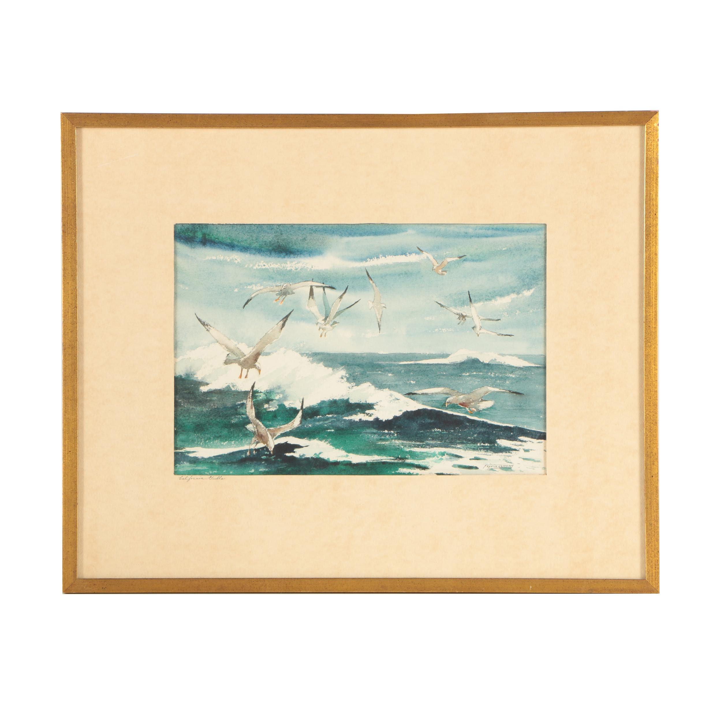 "Frances Greening Watercolor Painting ""California Gulls"""