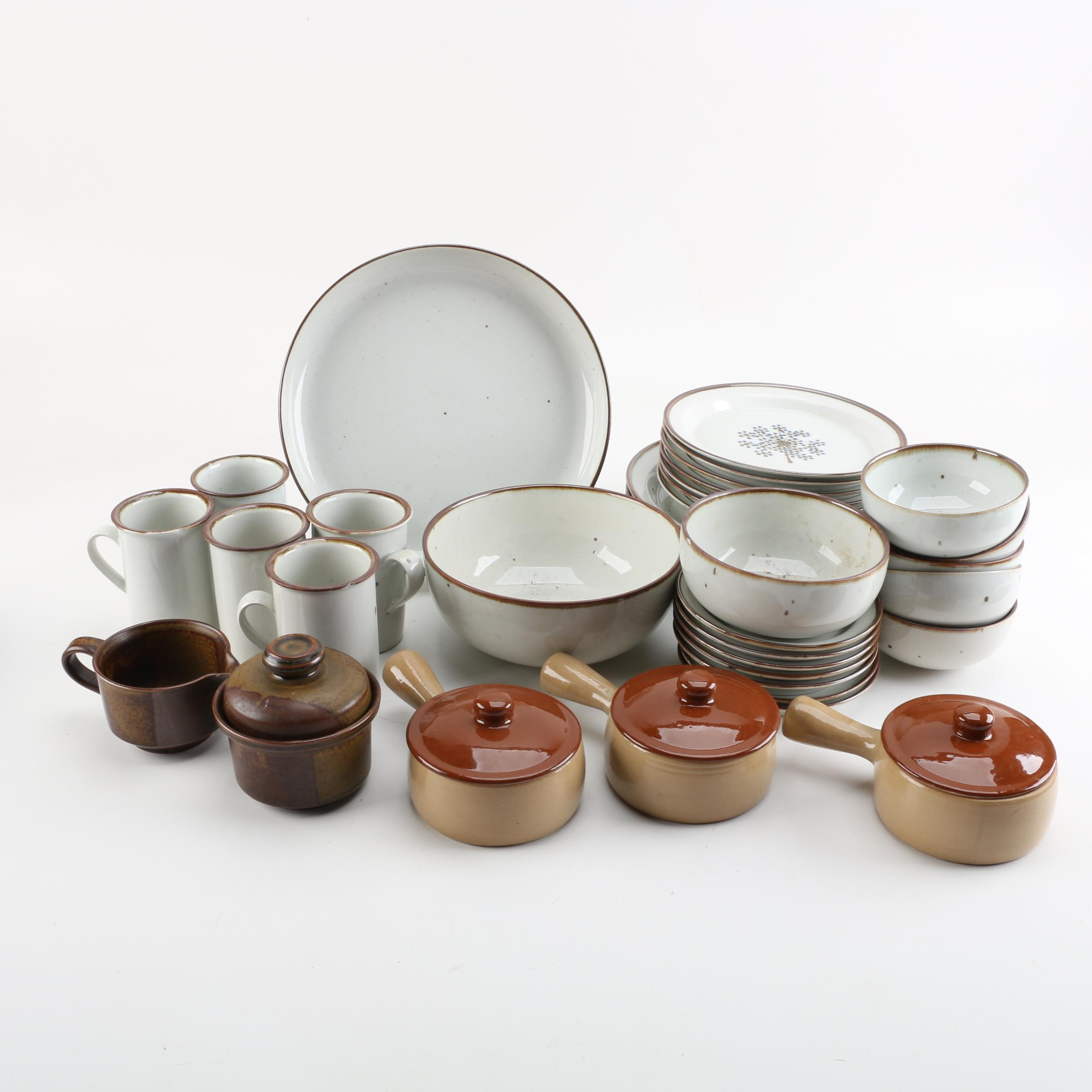 "French Onion Pottery Bowls with Lids and Dansk ""Brown Mist"" Stoneware"