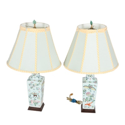 Pair of pale grey green ceramic table lamps ebth chinese ceramic urn shaped table lamps aloadofball Choice Image