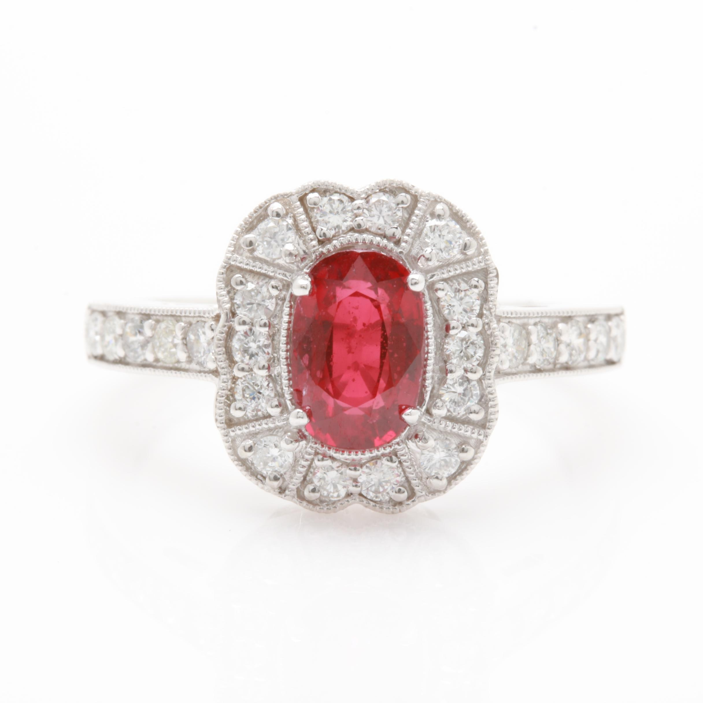 Platinum 1.50 CT Ruby and Diamond Ring with GIA Report