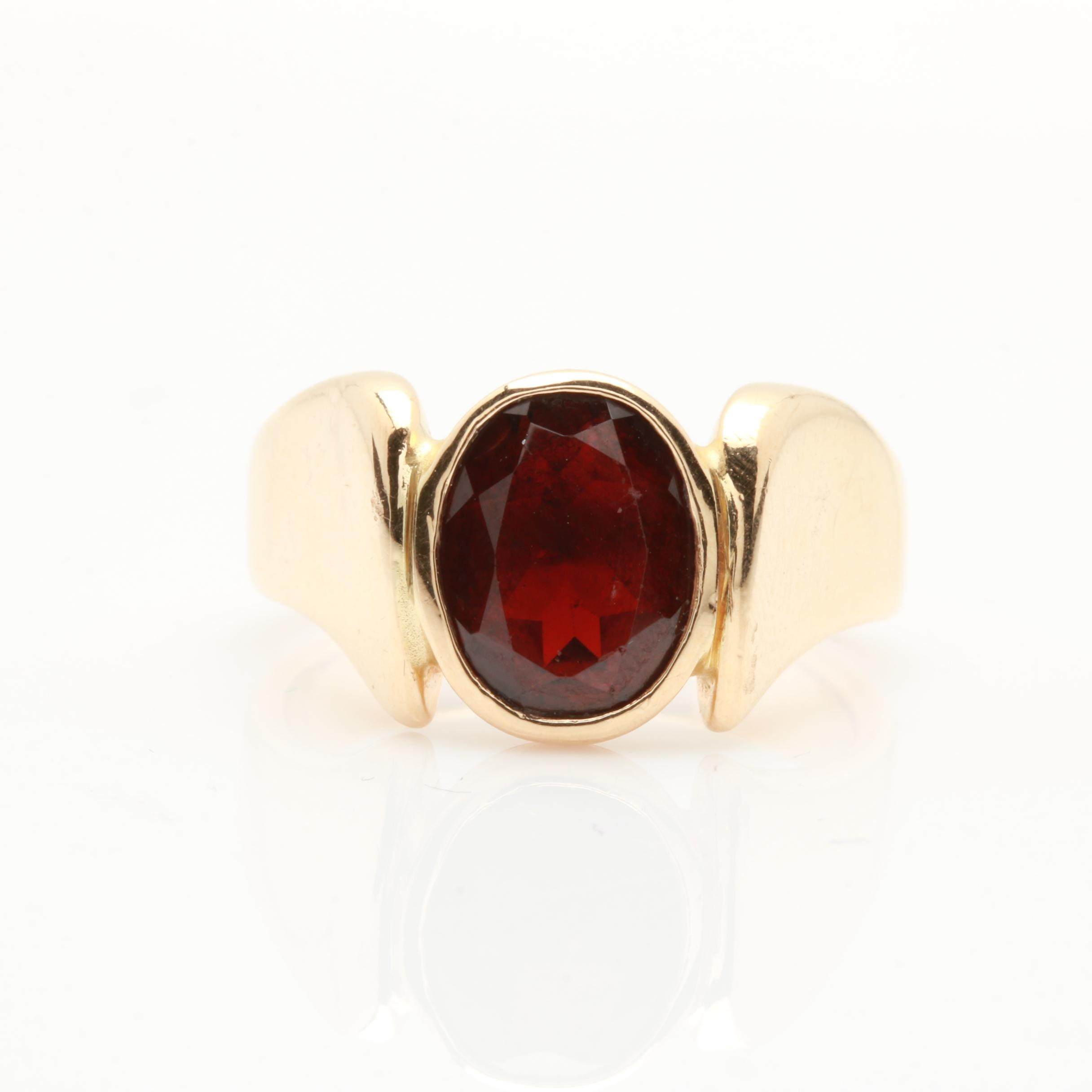 14K Yellow Gold Garnet Ring