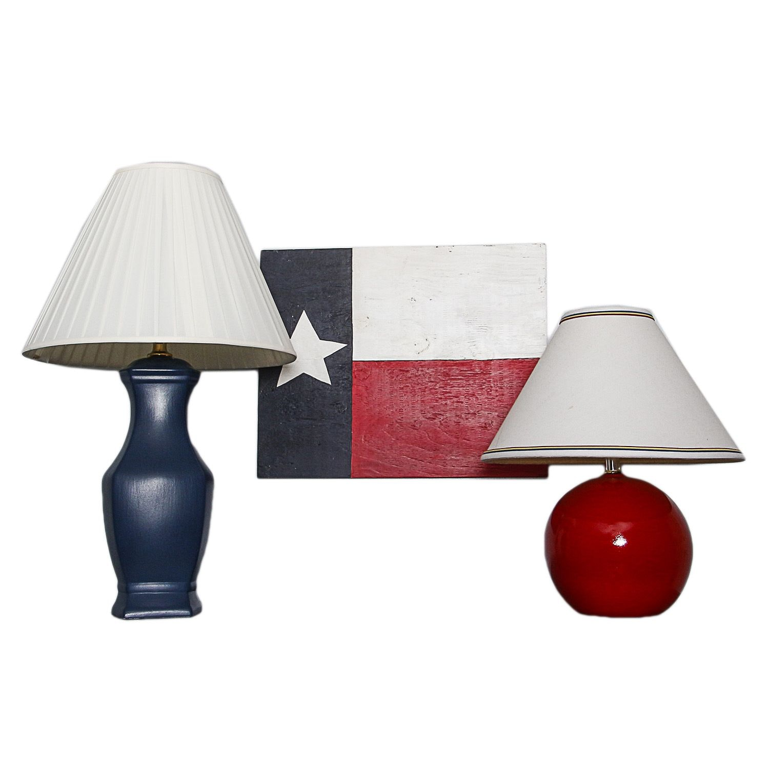Table Lamps with Decorative Texas Flag