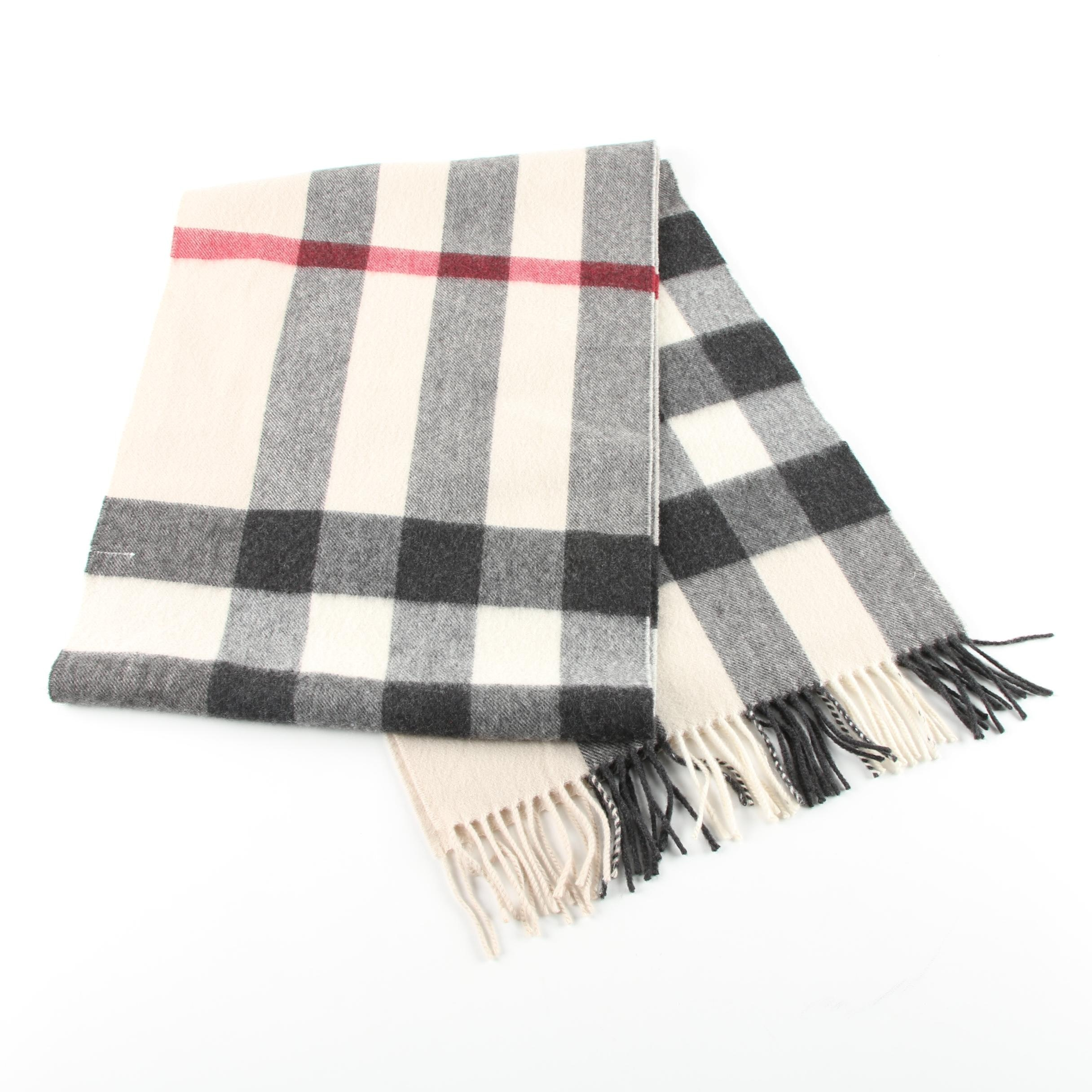 Burberry Plaid Cashmere Scarf