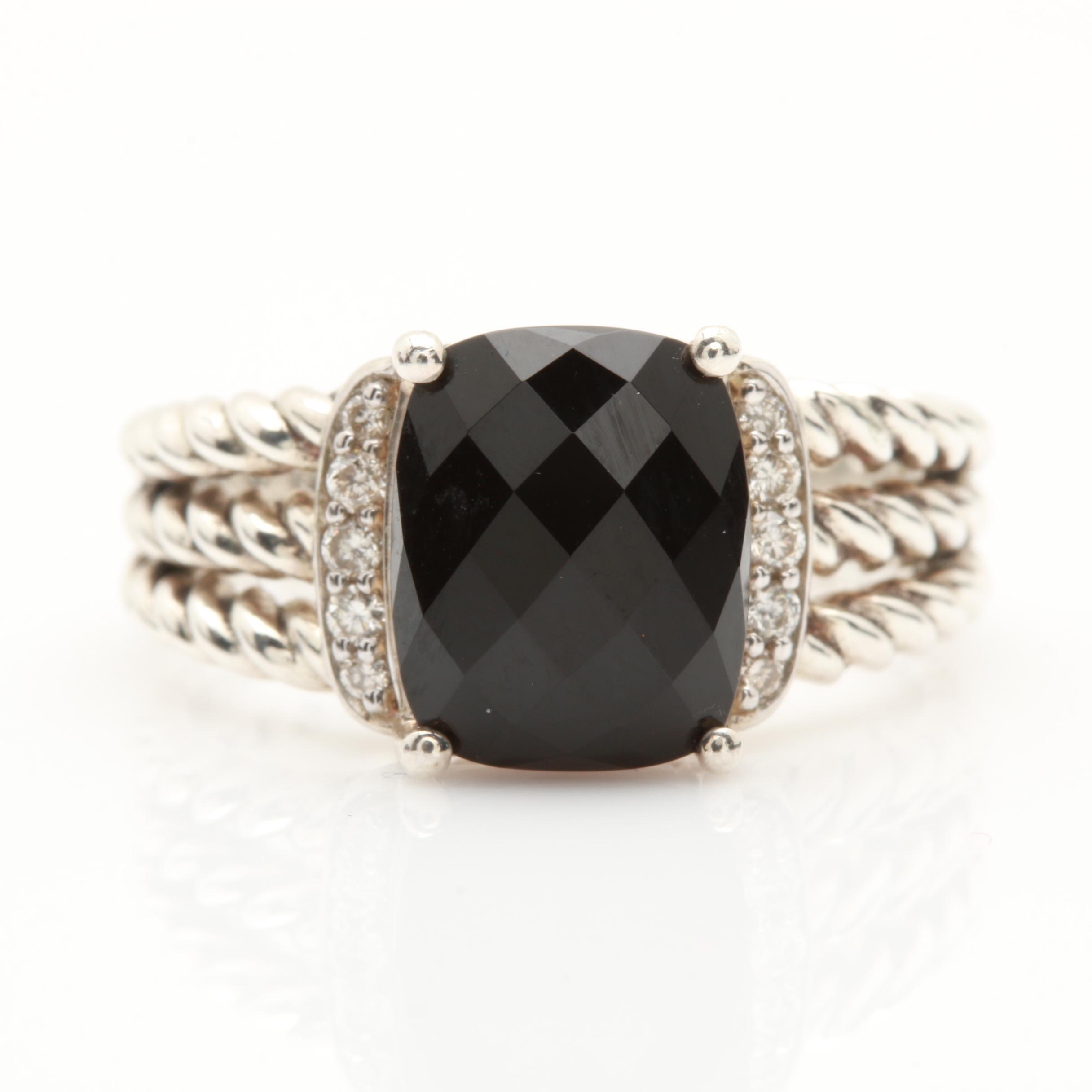 David Yurman Sterling Silver Black Onyx and Diamond Ring