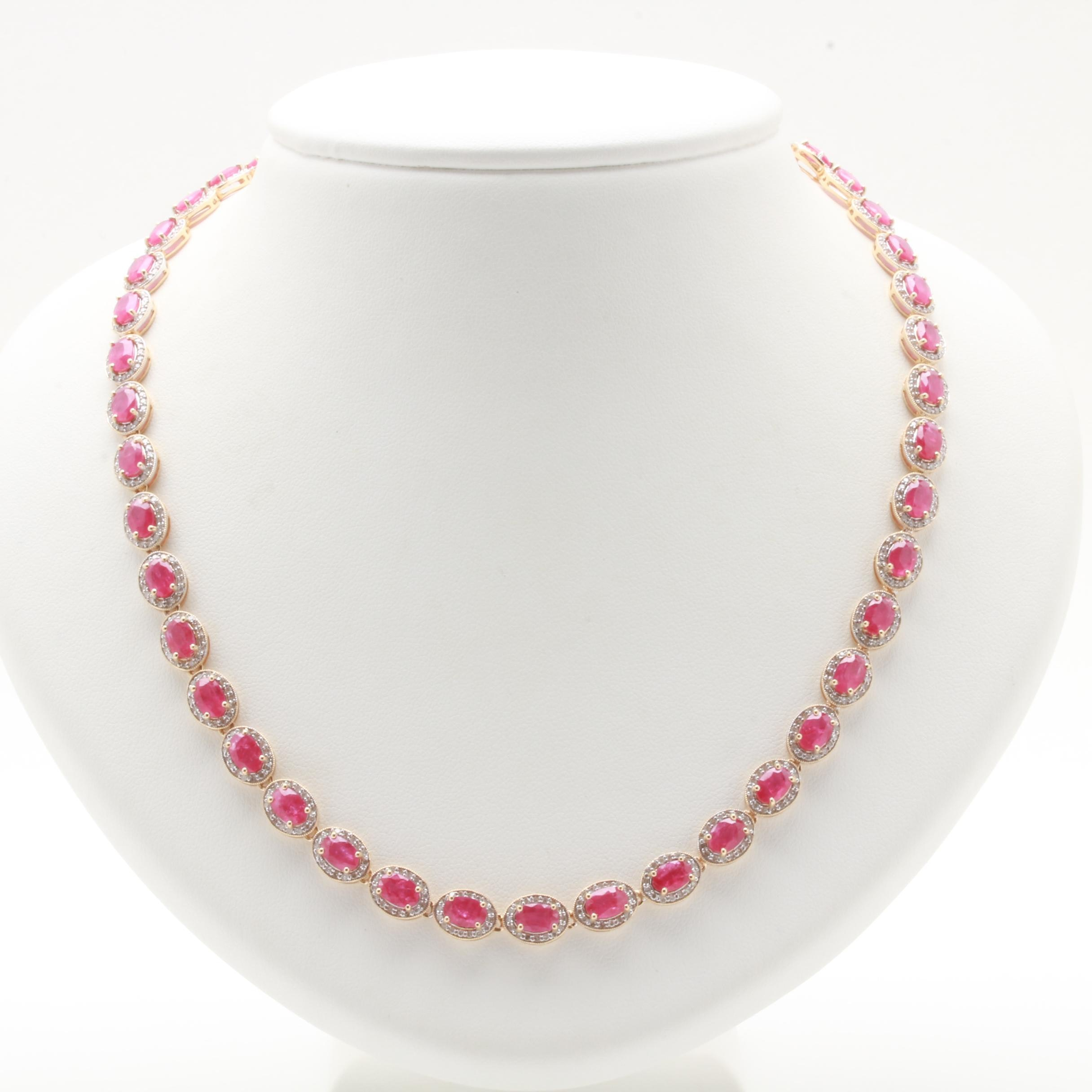 14K Yellow Gold Ruby and 3.02 CTW Diamond Necklace