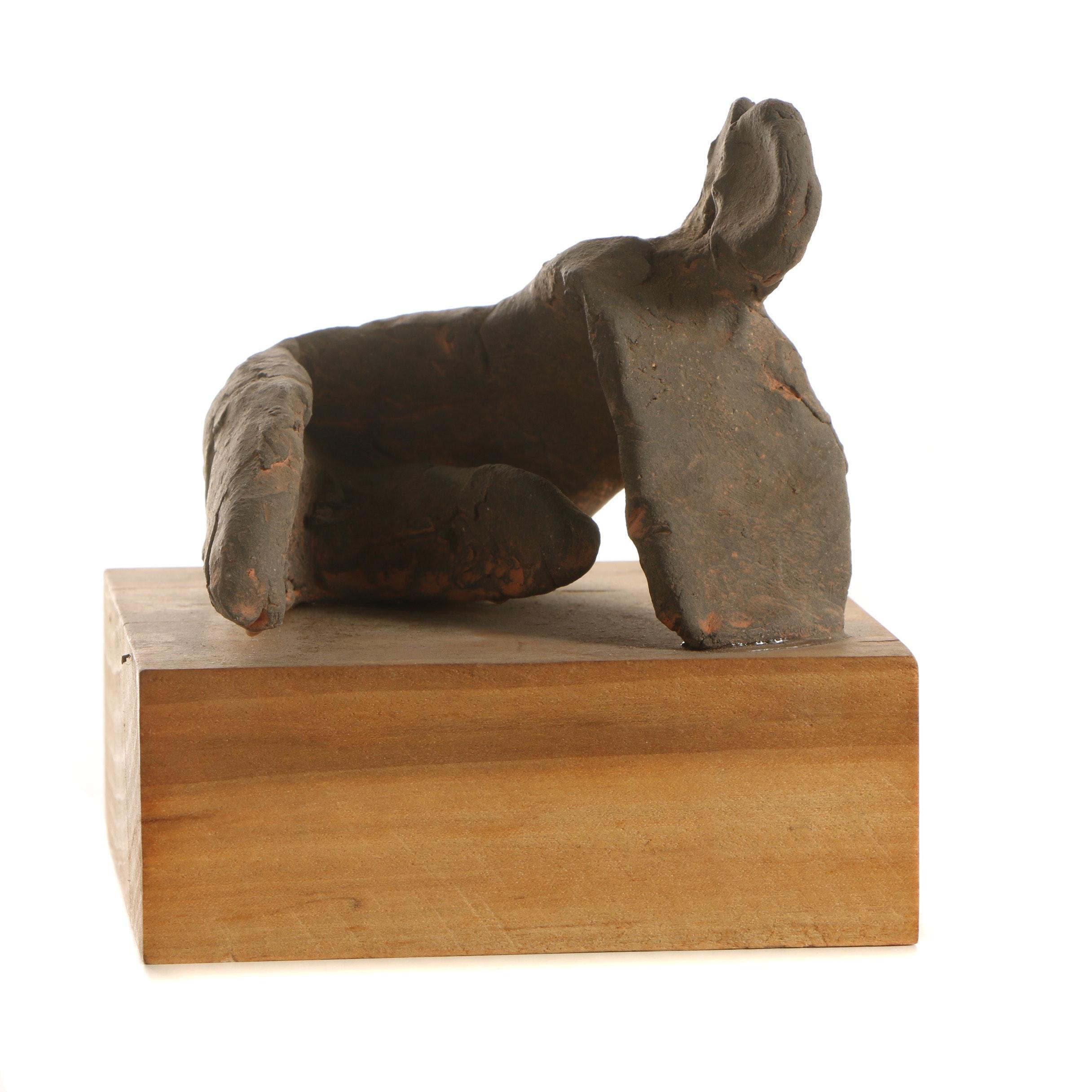 John Tuska Hand-Sculpted Ceramic Abstract Figure