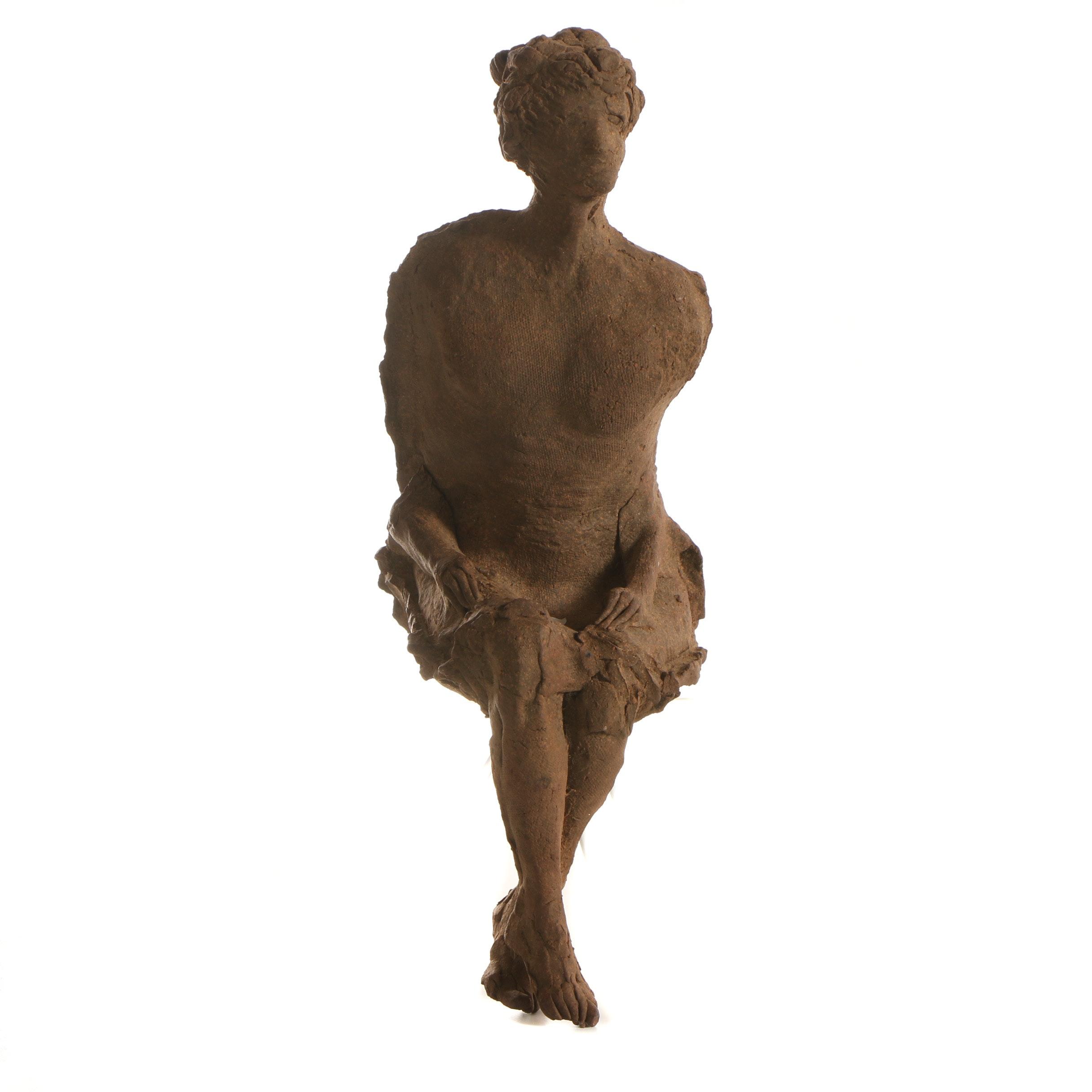 John Tuska Seated Stoneware Figure