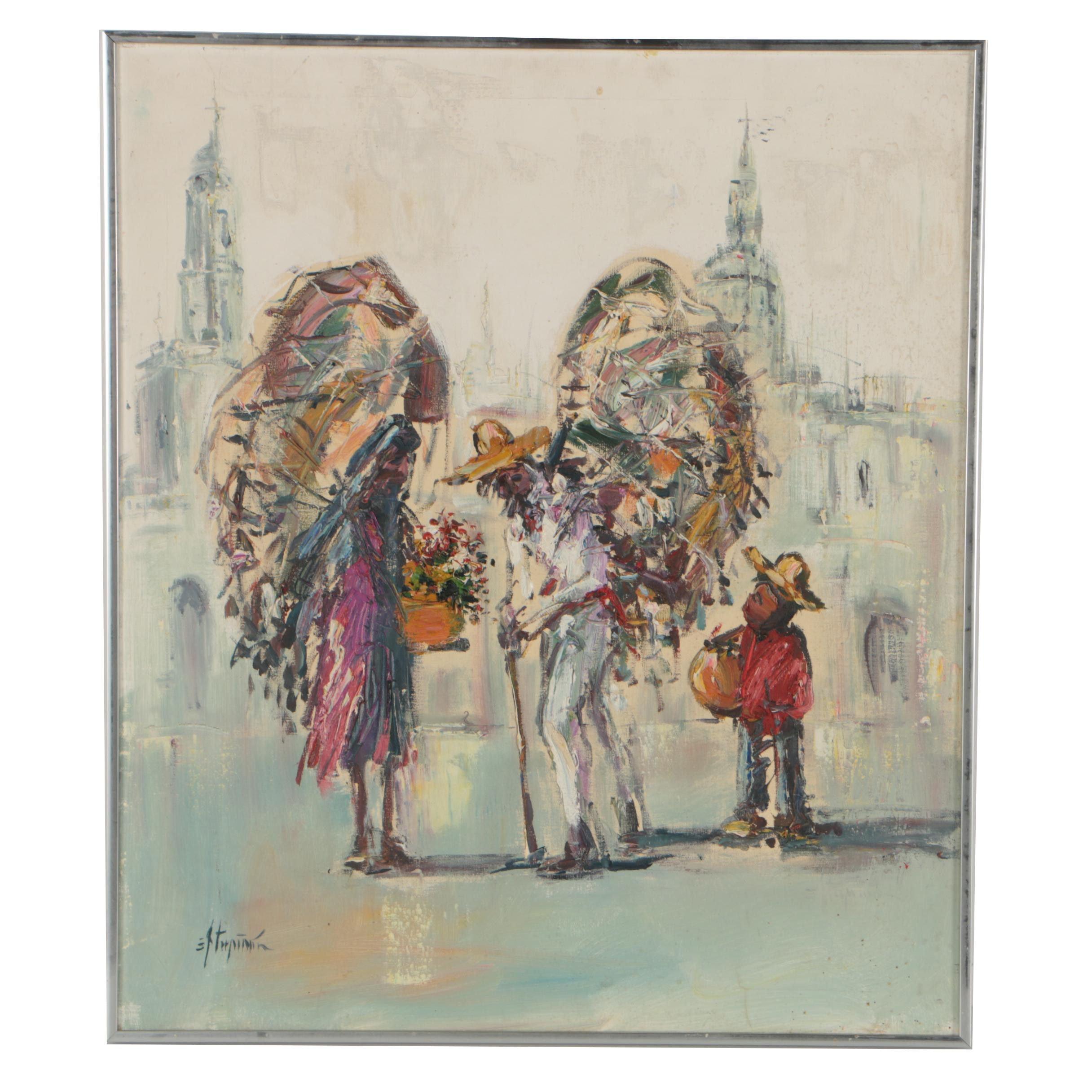 Oil Painting of Flower Vendors