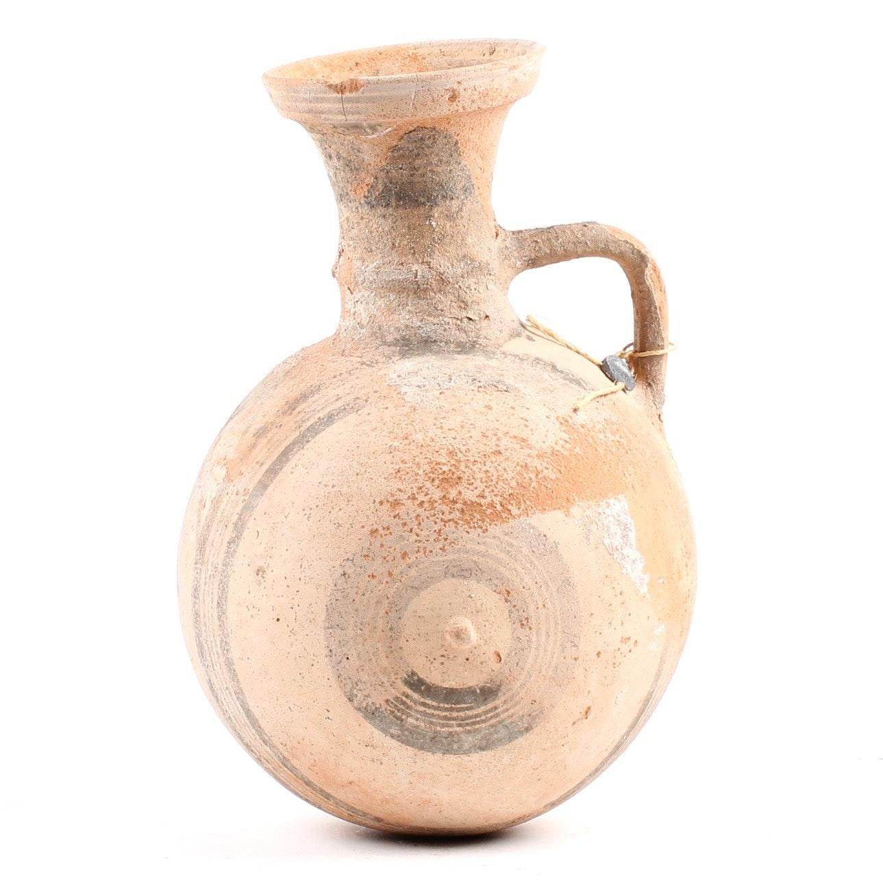 Cypriot Culture Barrel-Jug 850-700 B.C.E. Cypro-Geometric III Period Clay