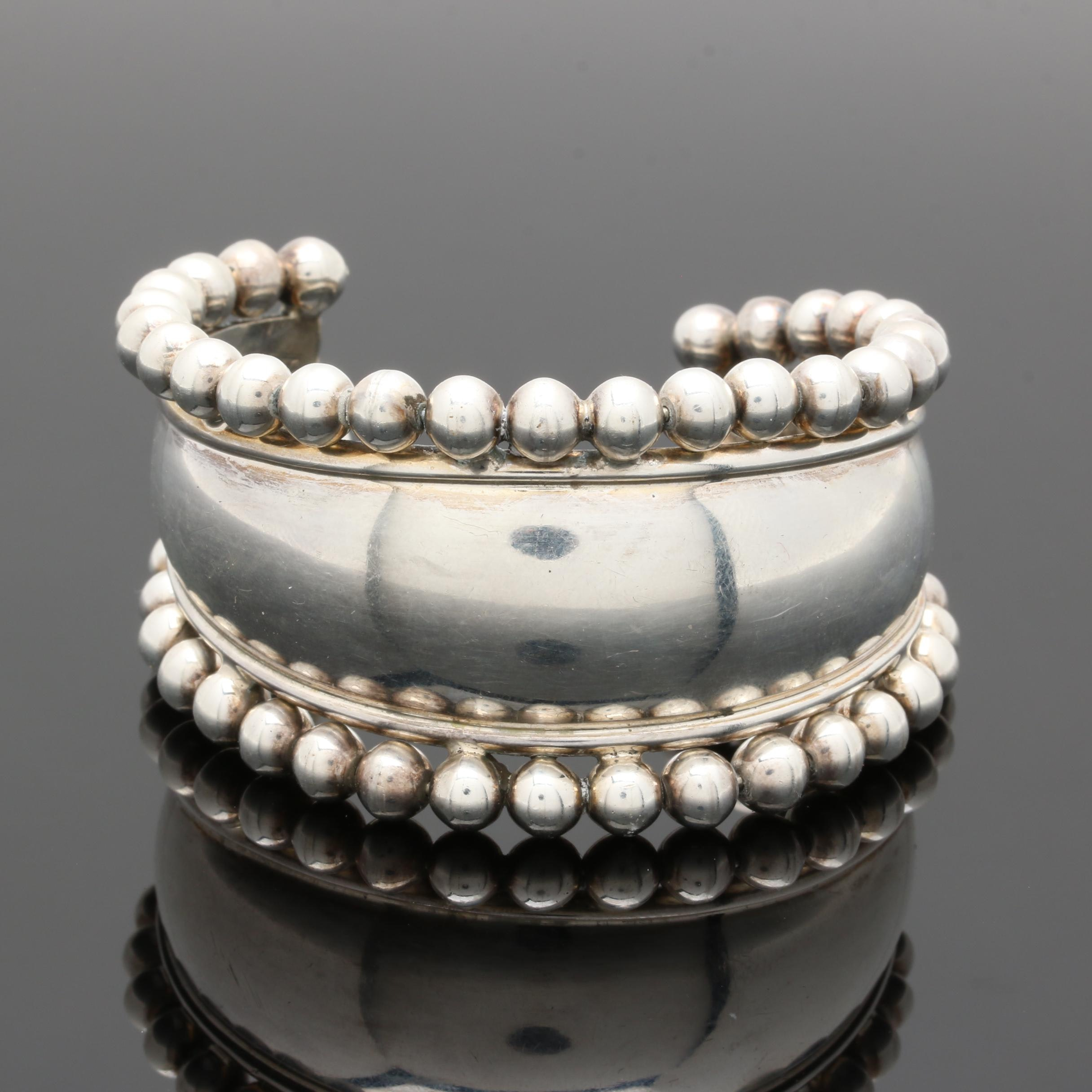 Taxco Sterling Silver Beaded Cuff Bangle