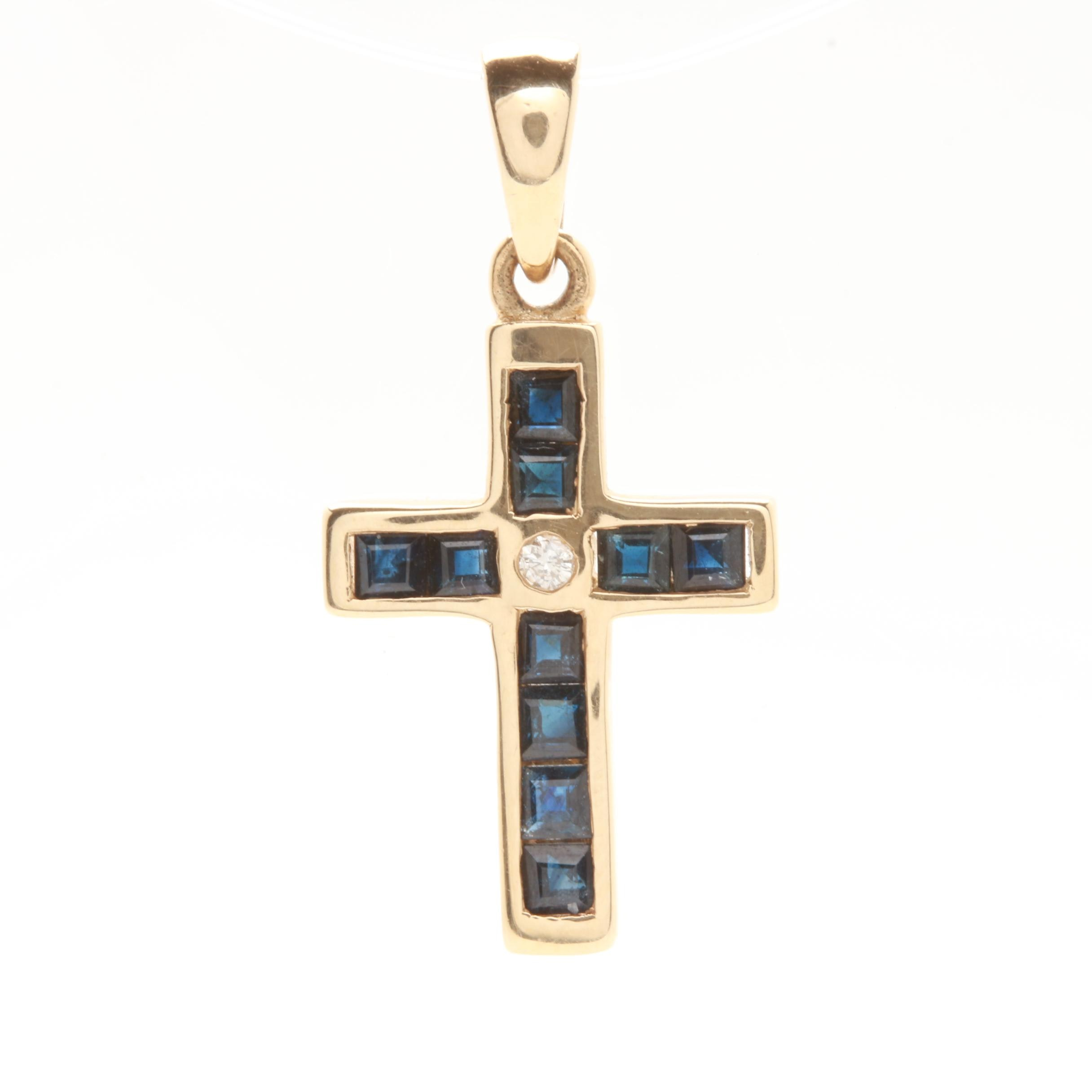 14K Yellow Gold Blue Sapphire and Diamond Cross Pendant