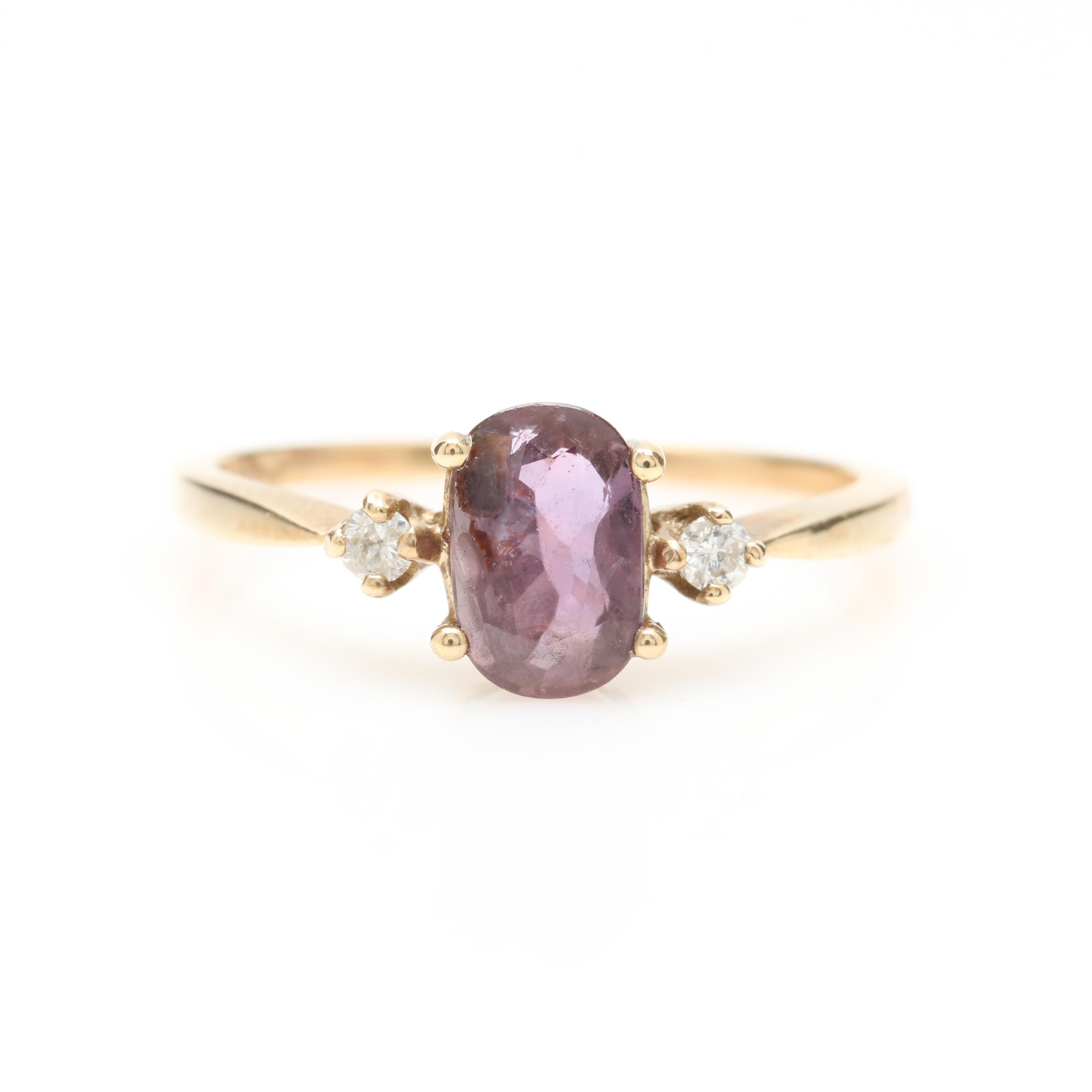 10K Yellow Gold Color Change Sapphire and Diamond Ring
