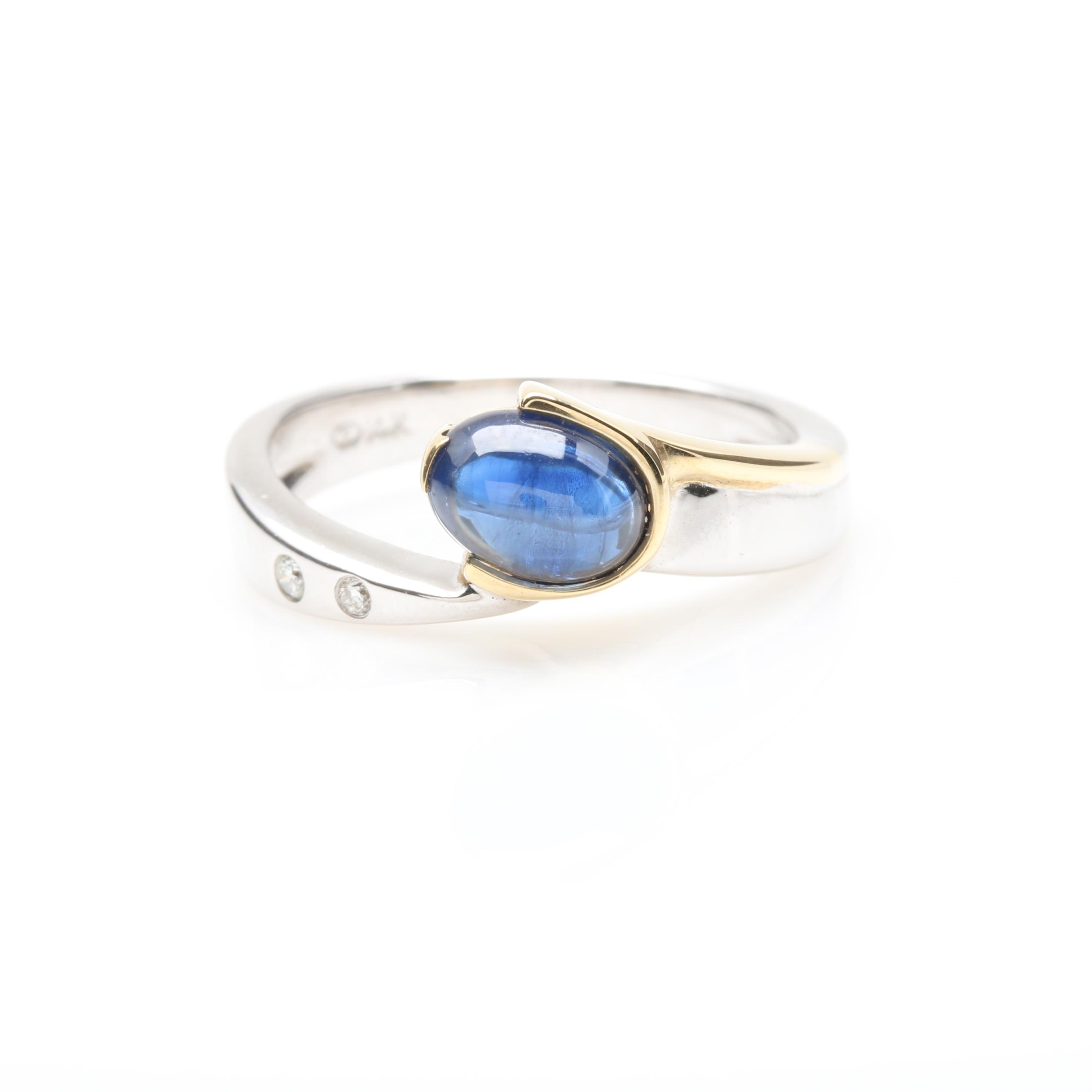 14K White Gold 1.30 CT Sapphire and Diamond Ring