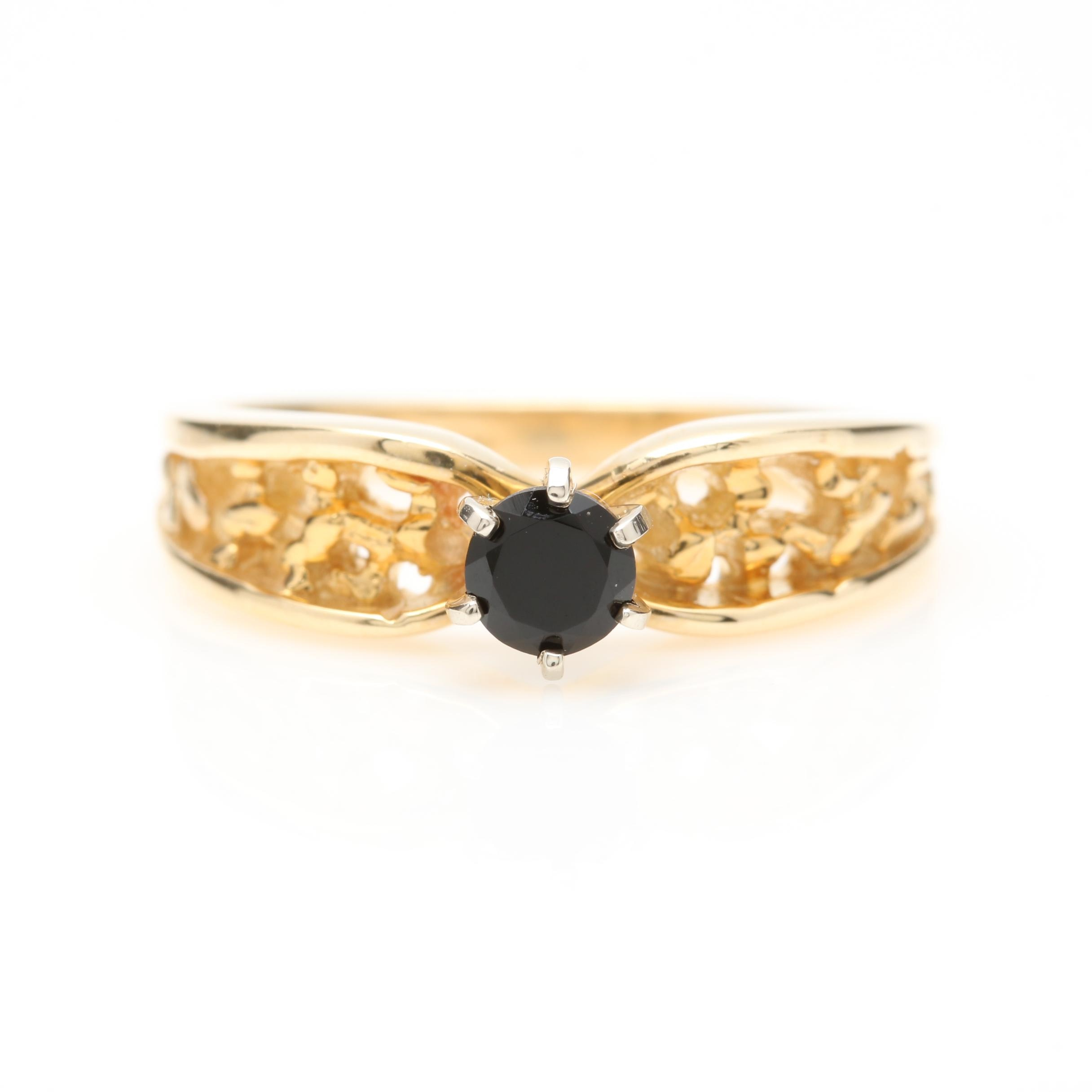 14K Yellow Gold Black Onyx Solitaire Ring