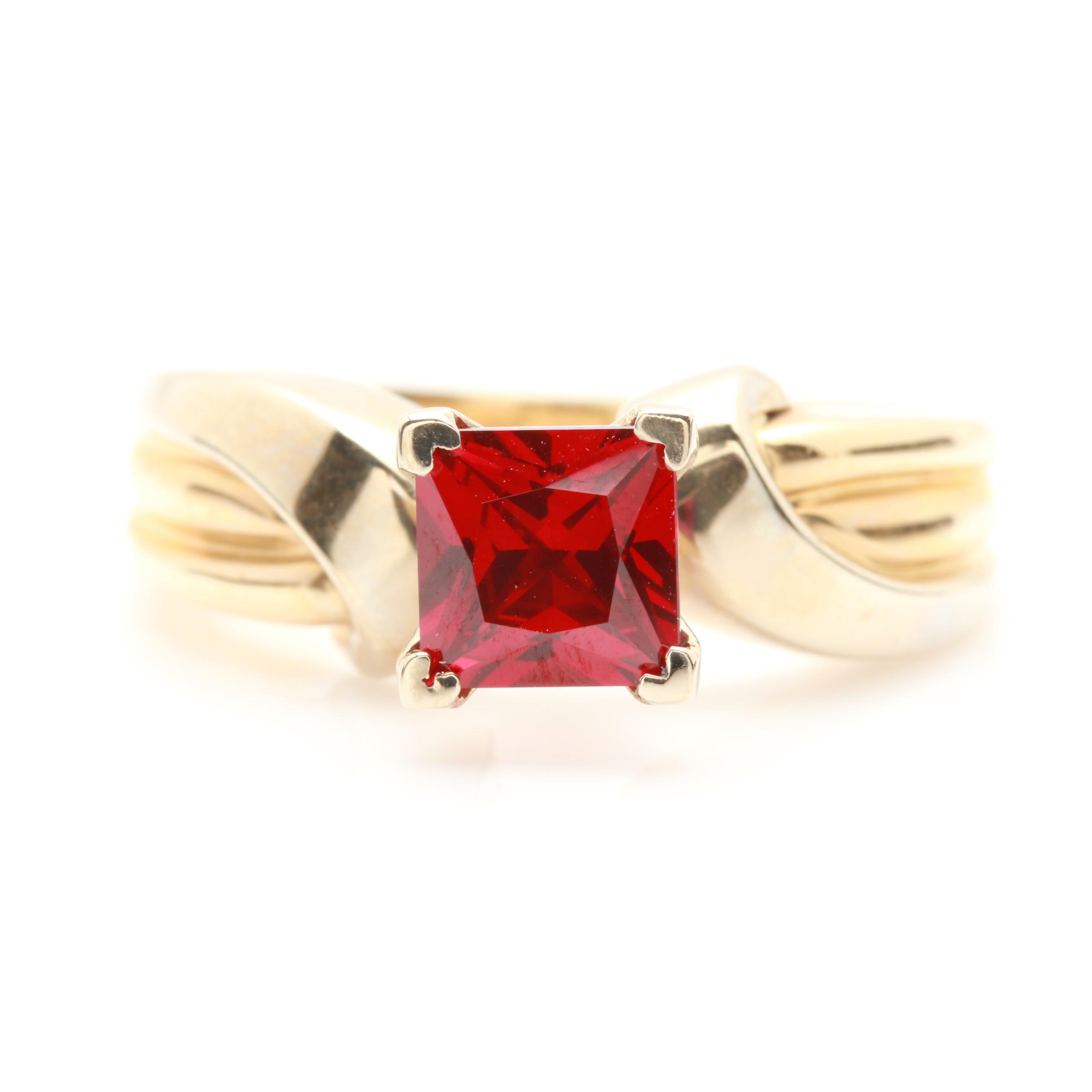 14K Yellow Gold 1.38 CT Synthetic Ruby Solitaire Ring