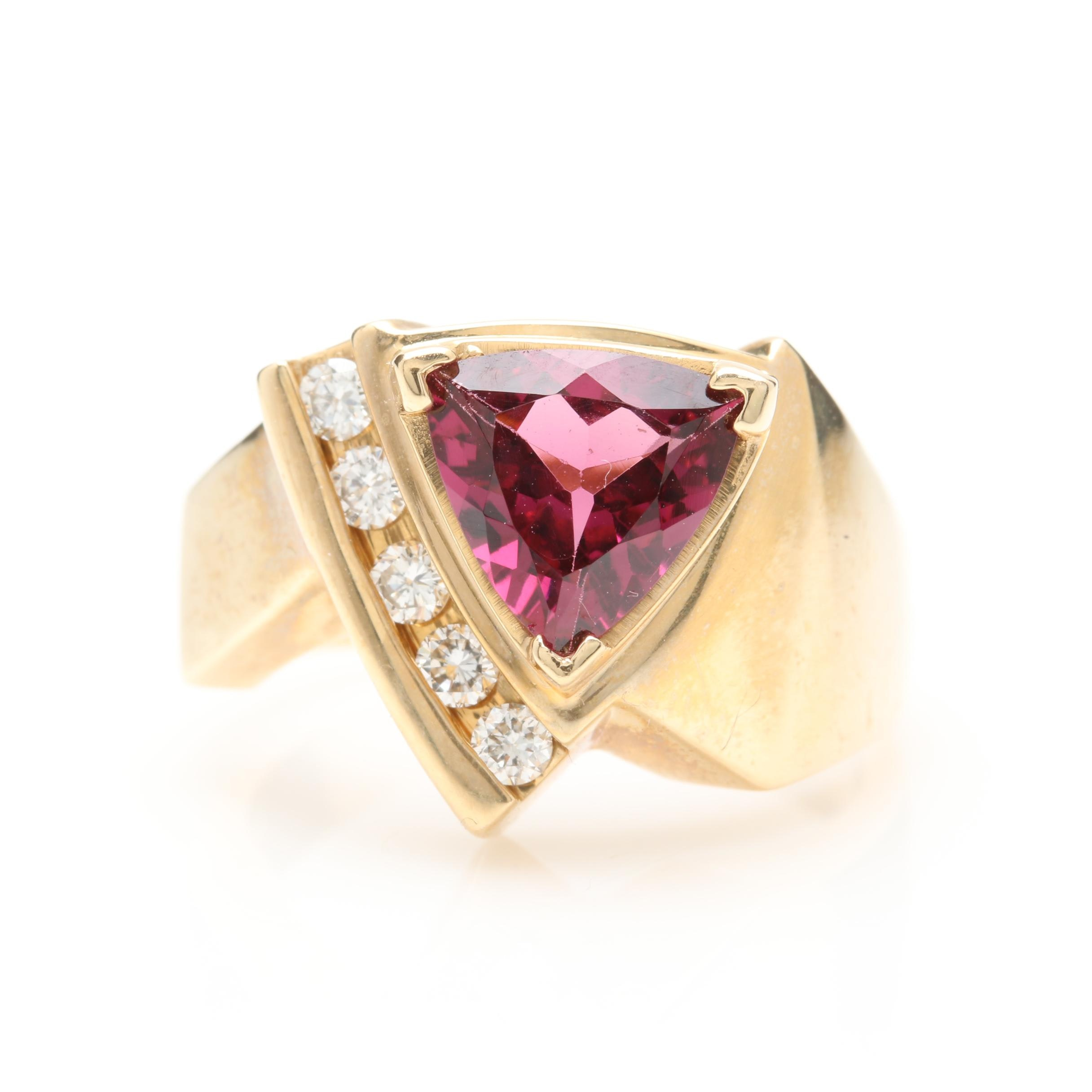 14K Yellow Gold 3.09 CT Rhodolite Garnet and Diamond Ring